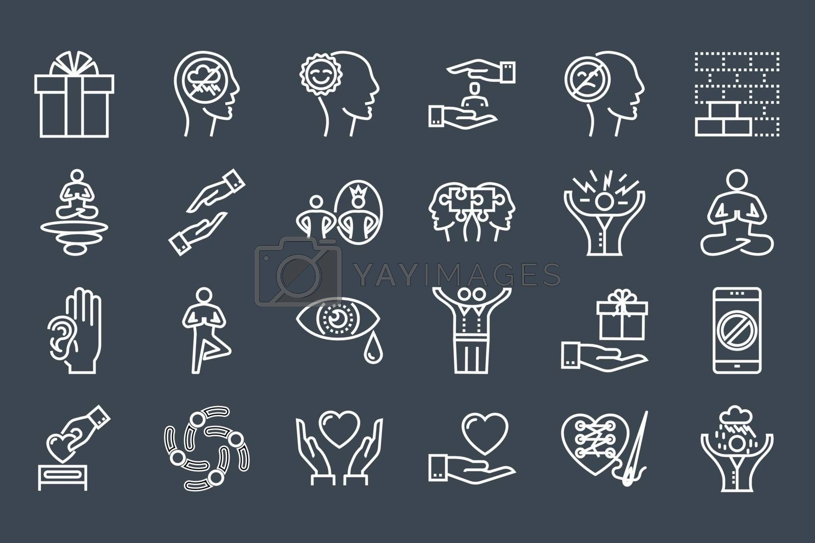Conscious Living and Friends Relations Thin Line Related Icons Set. Isolated on Black Background. Simple Mono Linear Pictogram Pack Stroke Vector Logo Concept for Web. Editable Stroke.