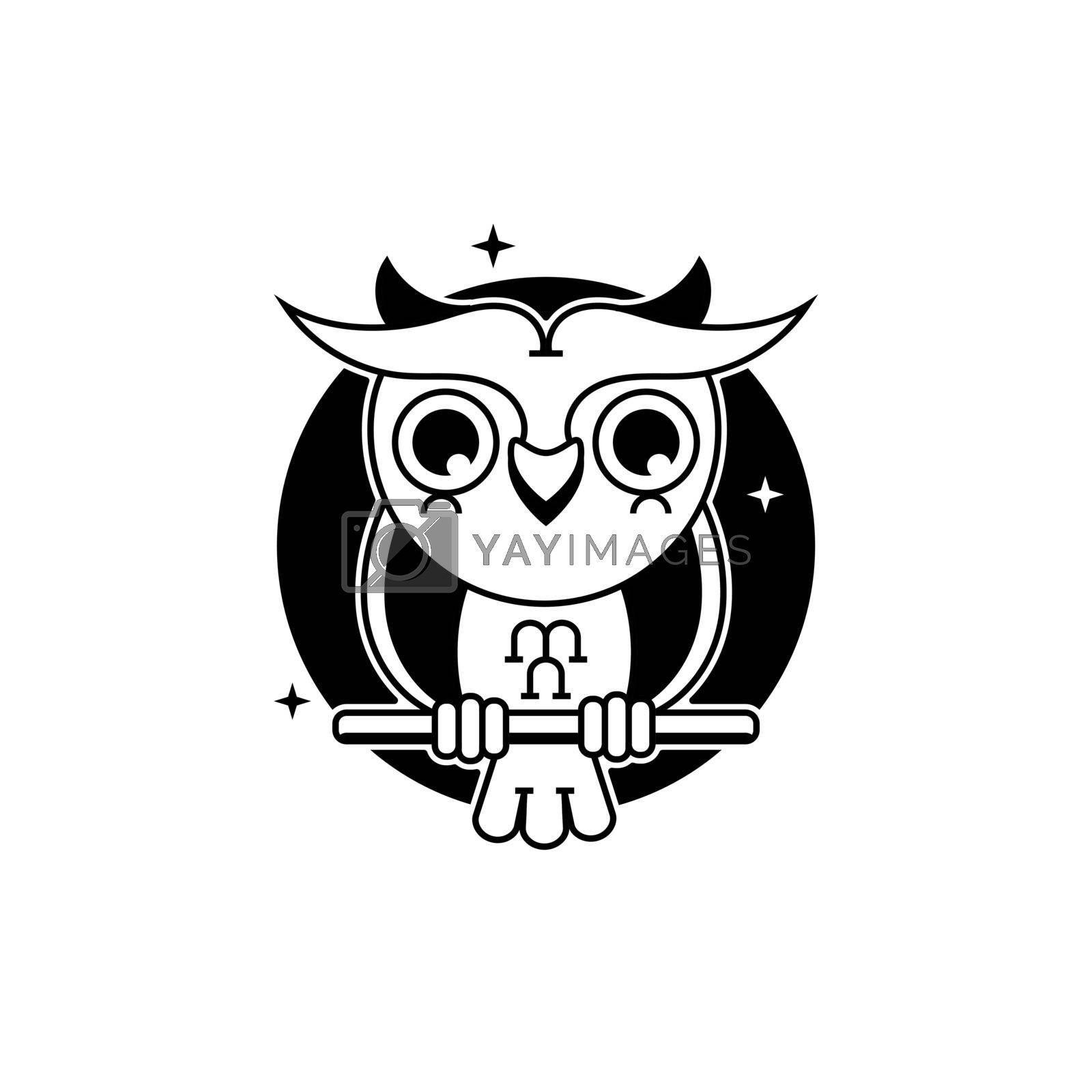 Owl Logo Template Vector Illustration Suitable For Greeting Card, Poster Or T-shirt Printing.