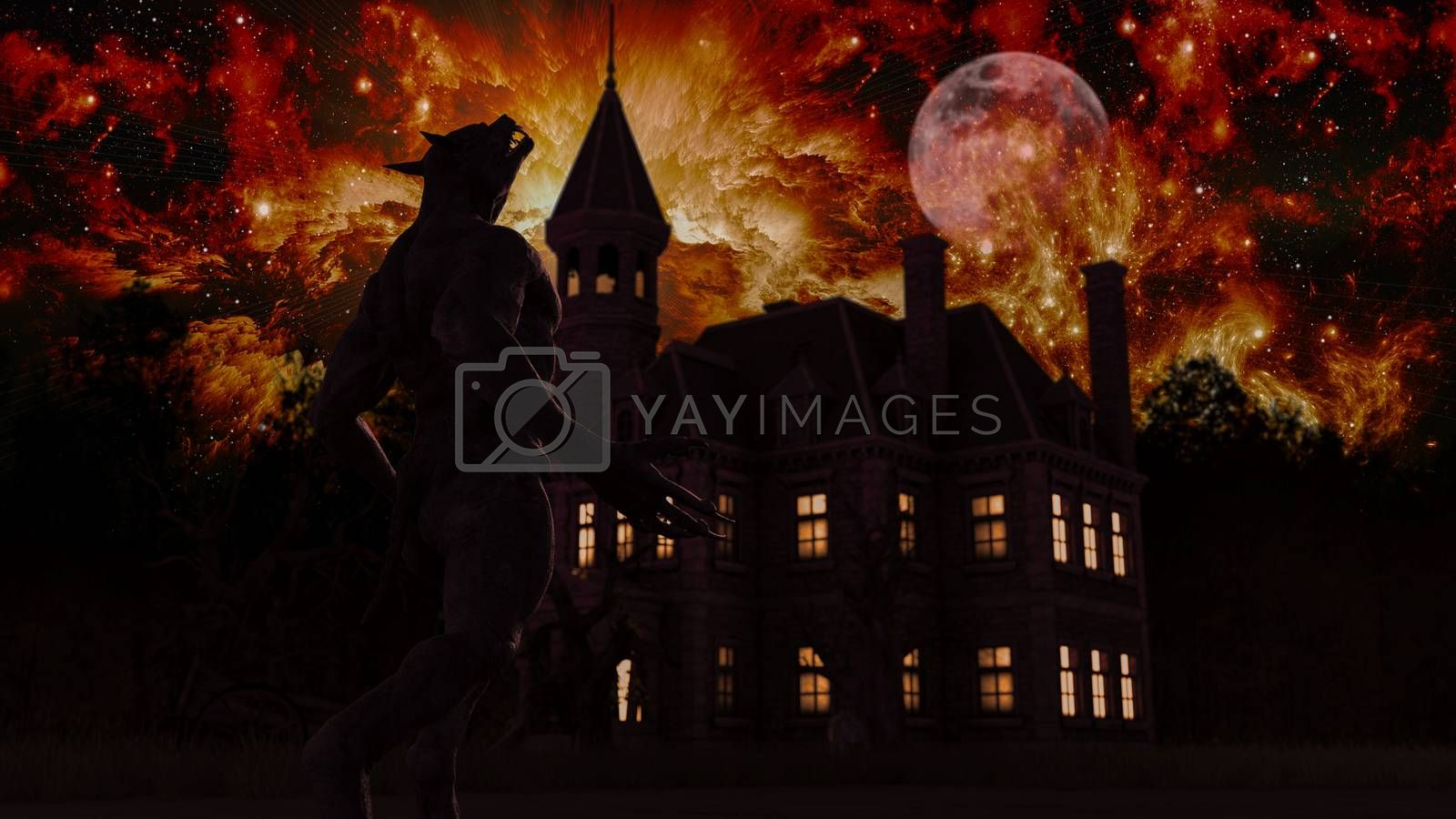 Illustration of a werewolf during the full moon near a house in the creepy forest - 3d rendering