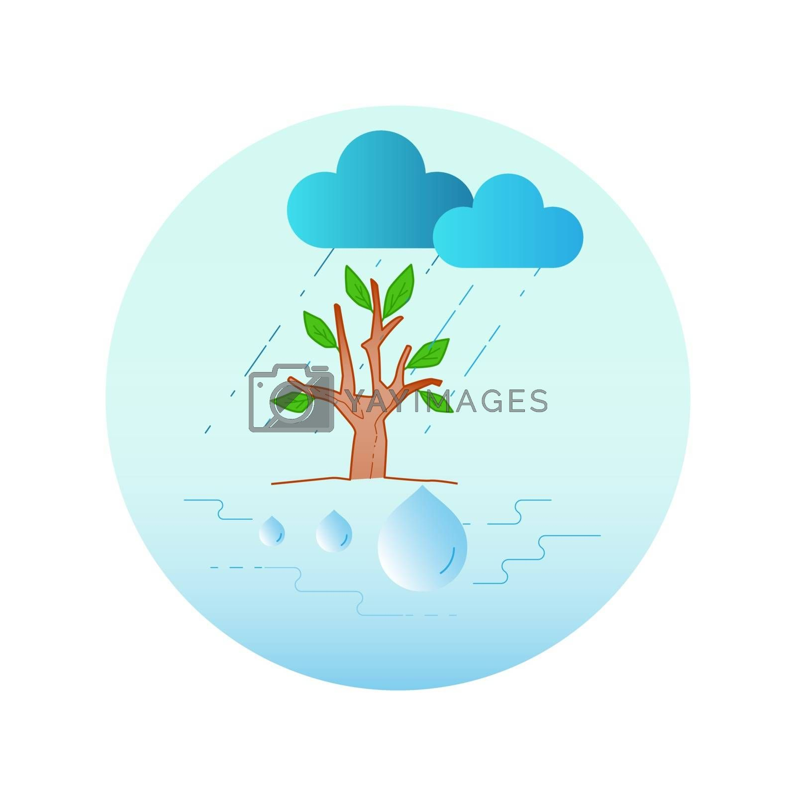 Forest regulate water cycle. The importance of relationship between forest and water. Vector illustration outline flat design style.