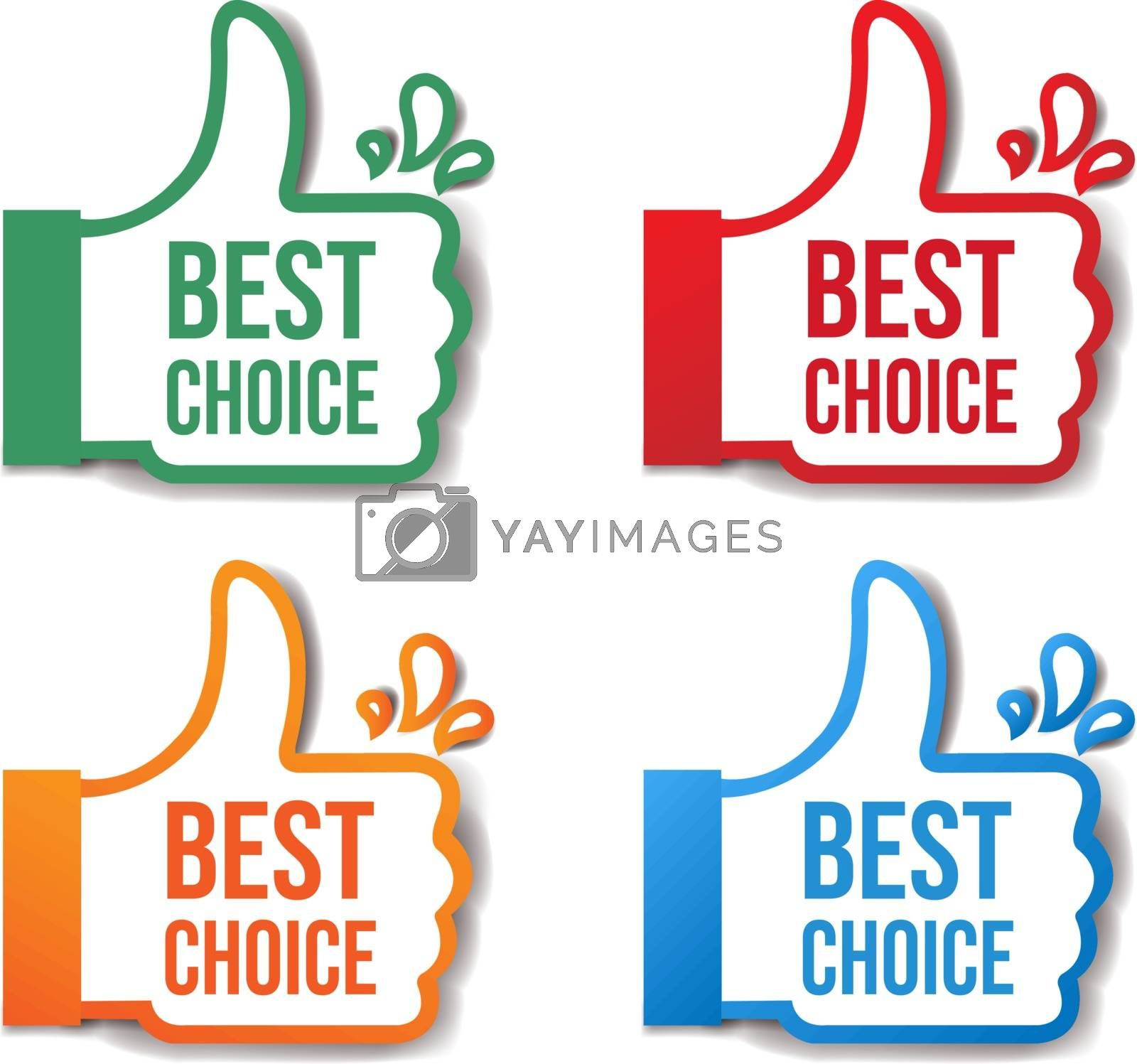 Best Choice Stickers Isolated White Background With Gradient Mesh, Vector Illustration