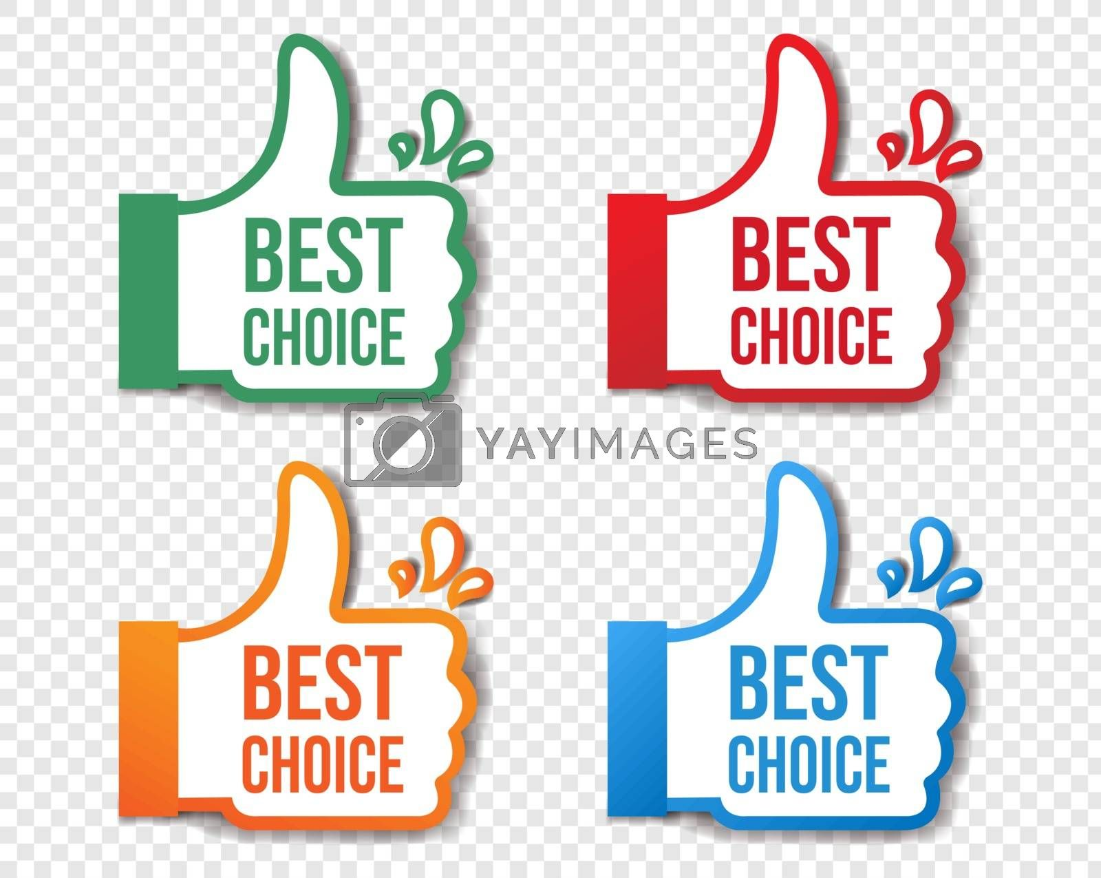 Best Choice Stickers Isolated Transparent Background With Gradient Mesh, Vector Illustration
