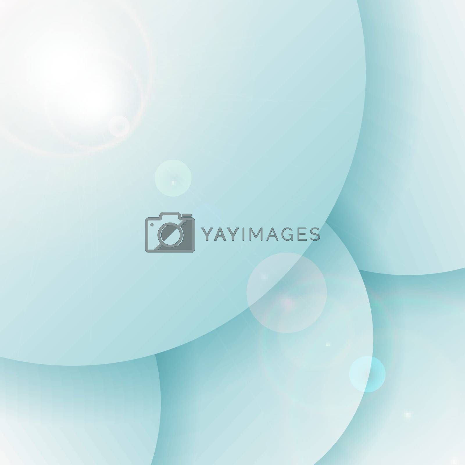 Abstract 3D blue circles overlapping layer background with lighting flare. Vector illustration