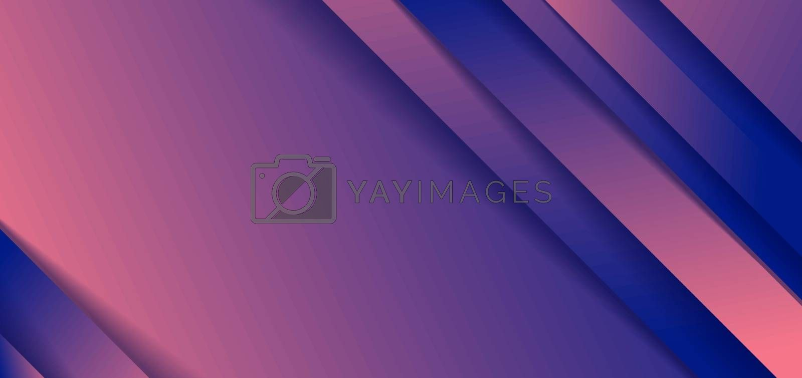 Abstract diagonal stripes blue and pink gradient shape background with shadow paper cut style. Vector illustration