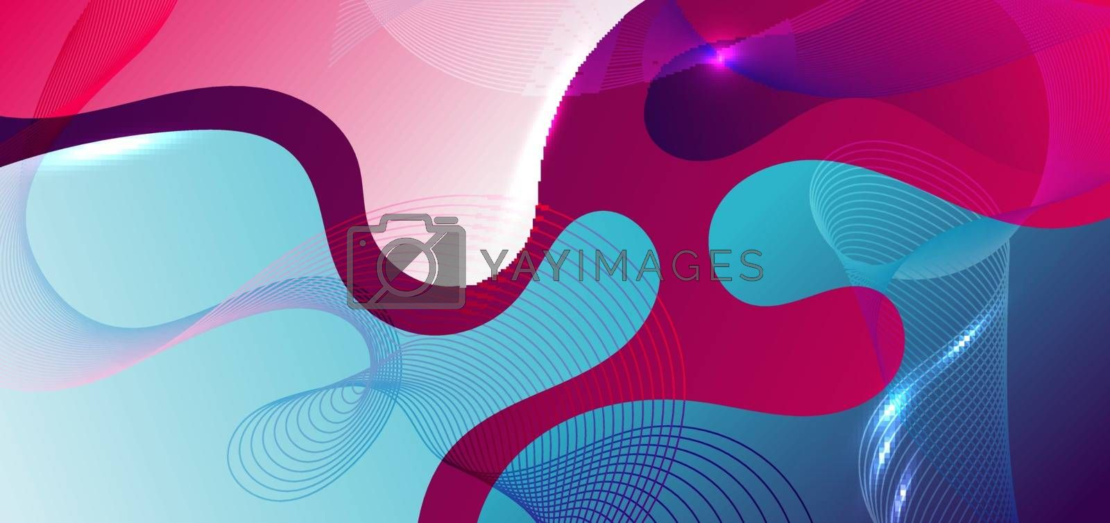 Abstract fluid shape blue and pink gradient background with wave line element. You can use for banner web, poster, brochure, template, etc. Vector illustration