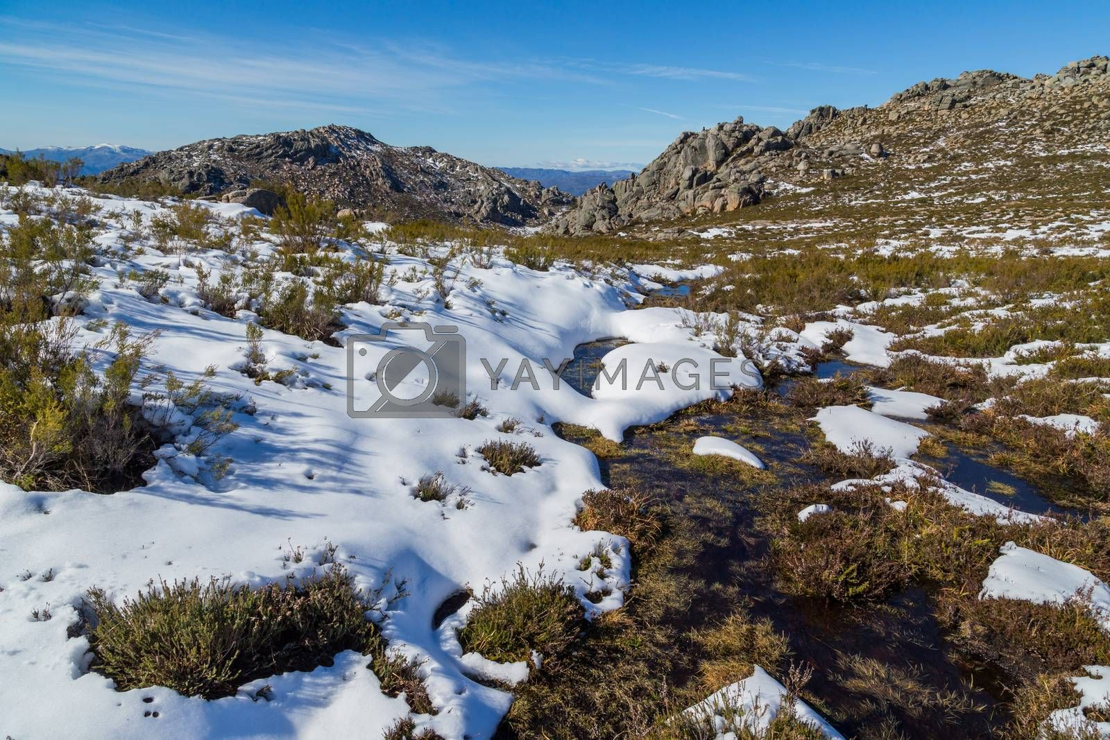 Winter landscape with snow in mountains of Serra do Xures natural park, Galicia, Spain