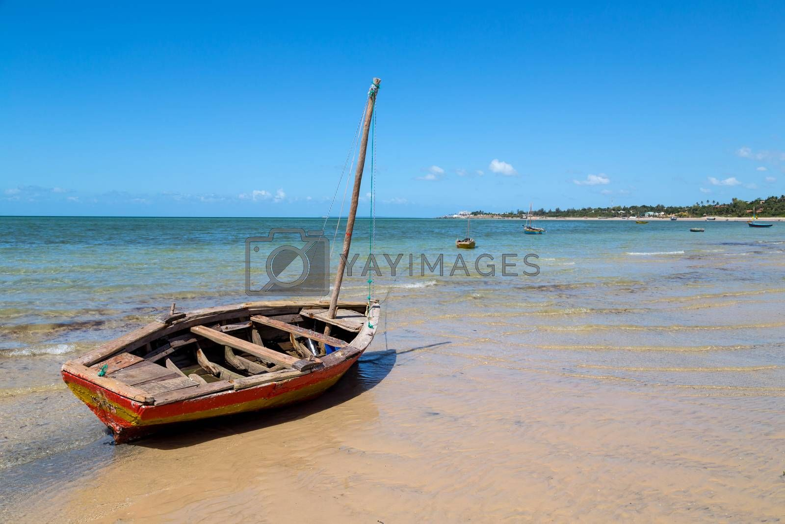 Boats at Magaruque island formerly Ilha Santa Isabel is part of the Bazaruto Archipelago off the coast of Mozambique.