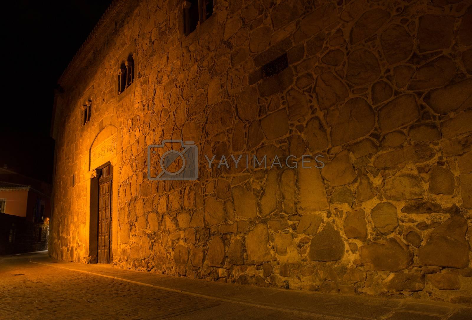 AVILA, SPAIN - Avila streets at night, Castile and Leon, Spain