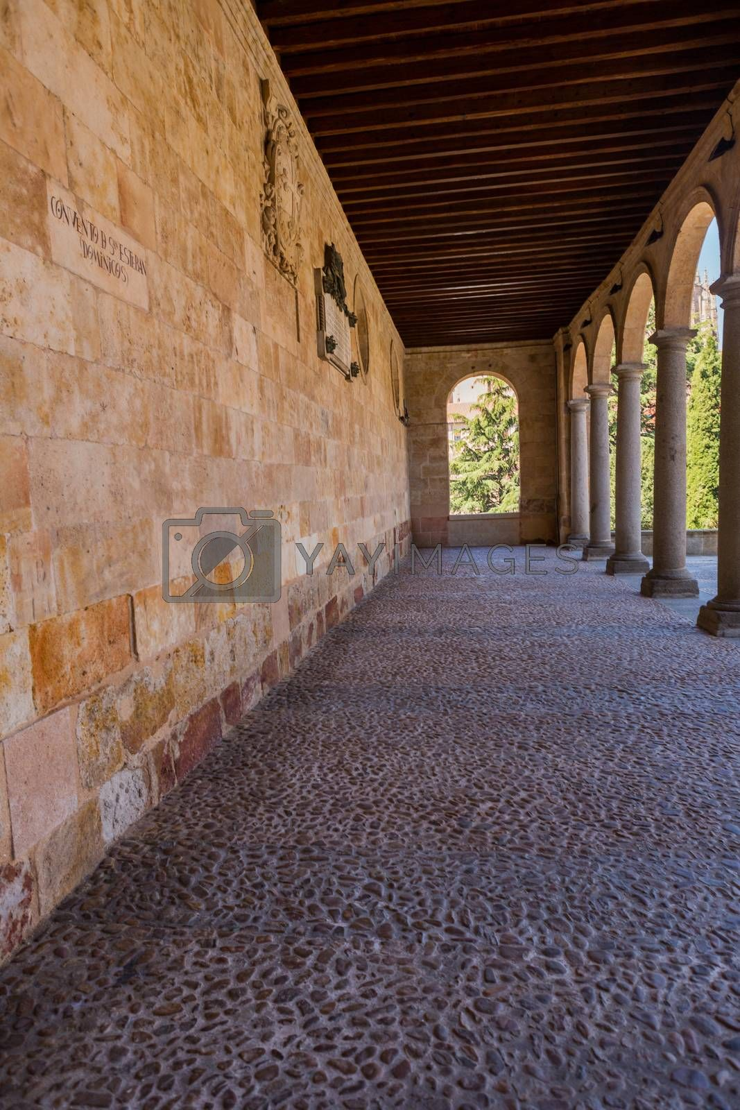 Salamanca, Spain - Old historic cloister in the downtown of Salamanca. Plateresque XV century. The old city of Salamanca was declared a UNESCO World Heritage site in 1988.