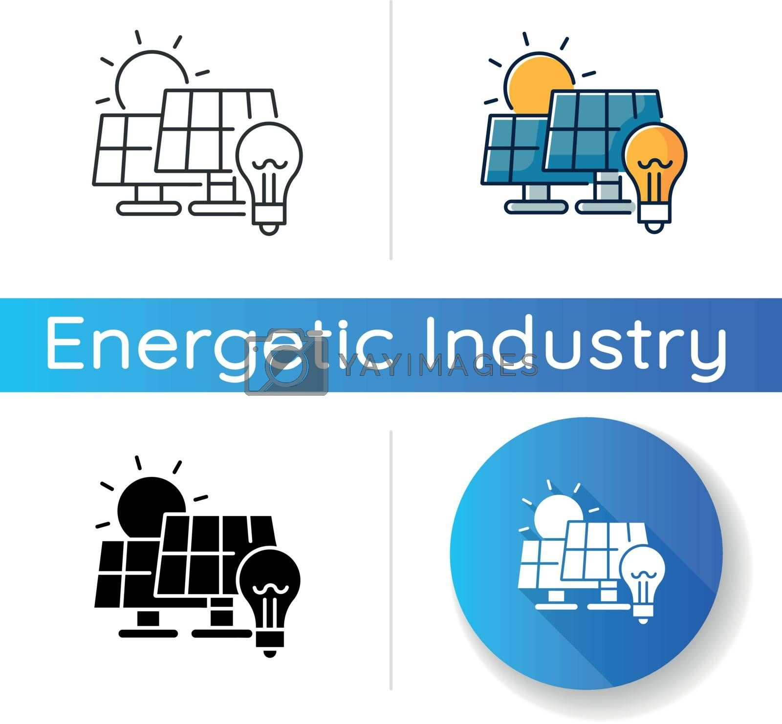 Solar power station icon. Linear black and RGB color styles. Renewable energy, alternative electricity manufacturing. Power plant with photovoltaic panels isolated vector illustrations