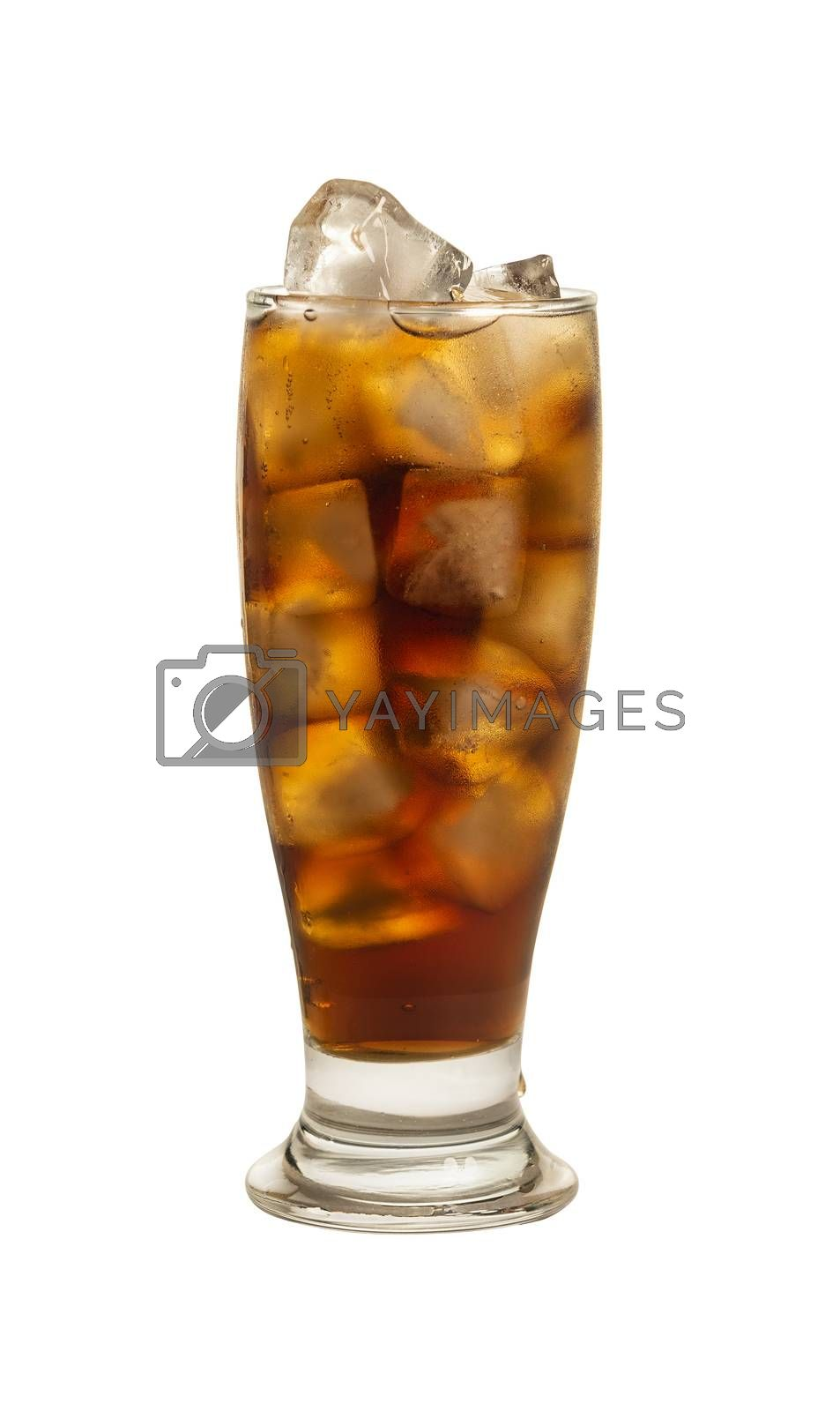 Close up one big high glass of cold cola soft drink with ice cubes isolated on white background, low angle side view