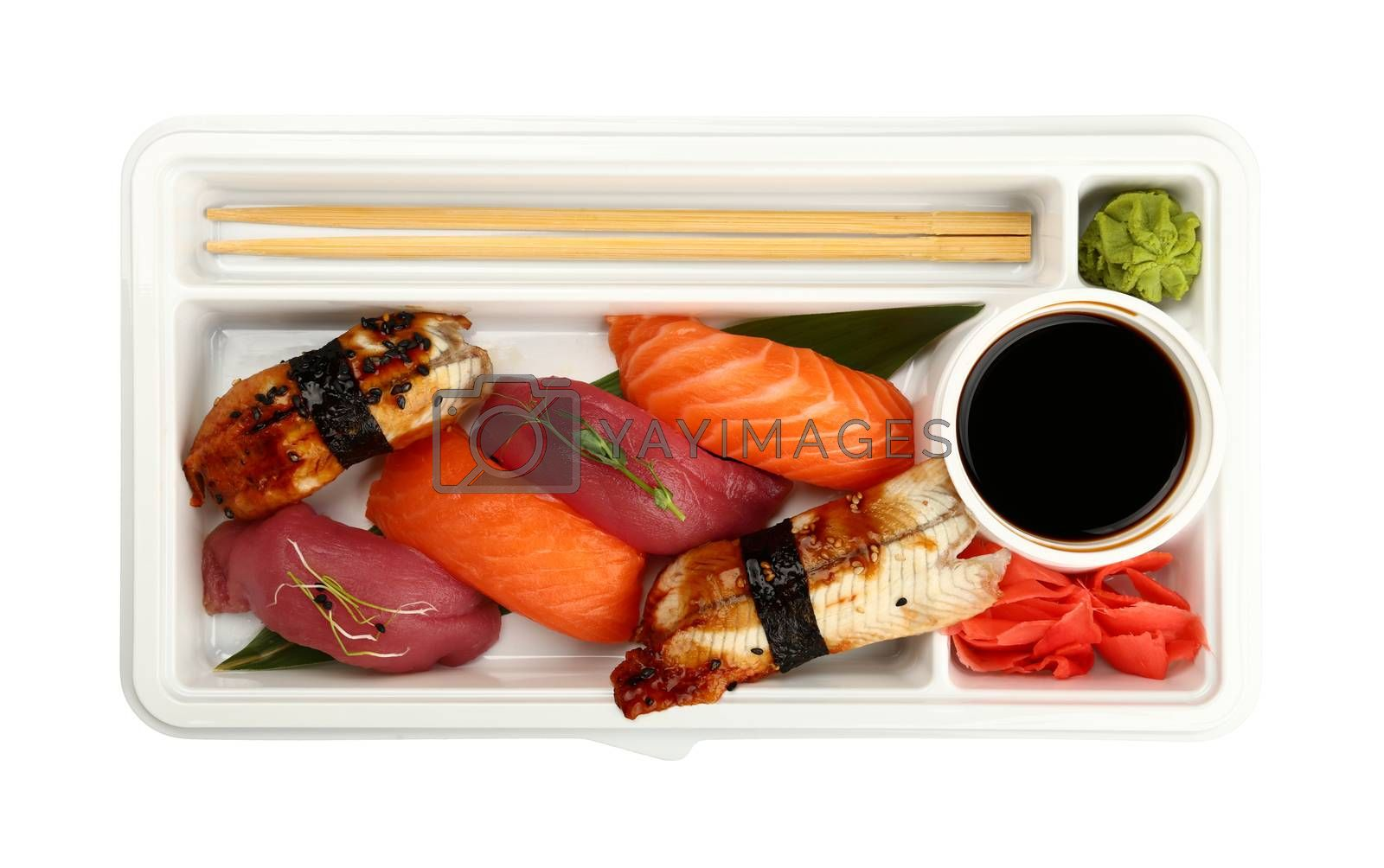 Close up take away set of nigiri sushi with eel, raw salmon and tuna fish in disposable plastic tray isolated on white background, elevated top view, directly above