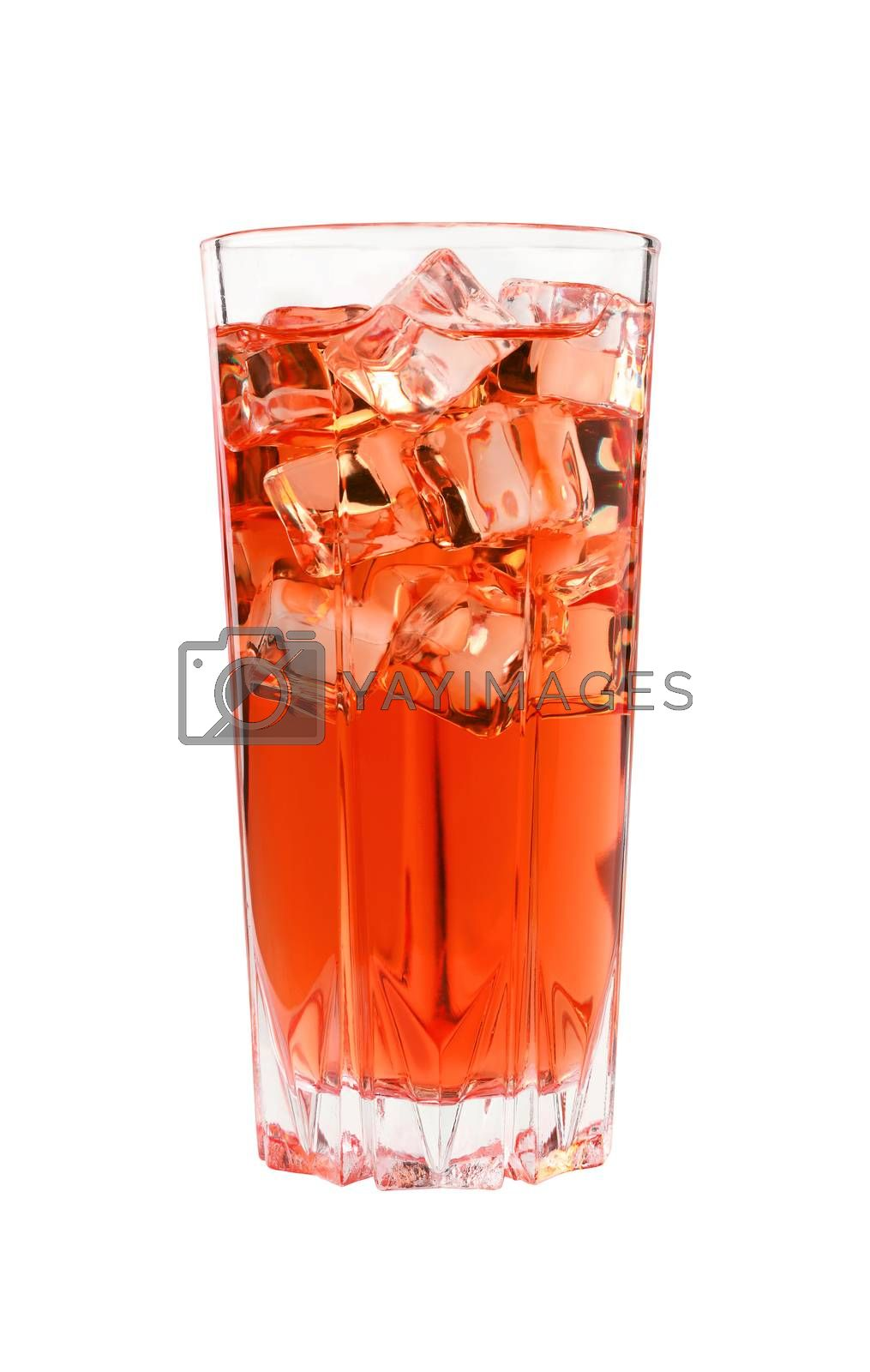 Close up one full high glass of cold iced red fruit tea with transparent ice cubes, isolated on white background, low angle side view