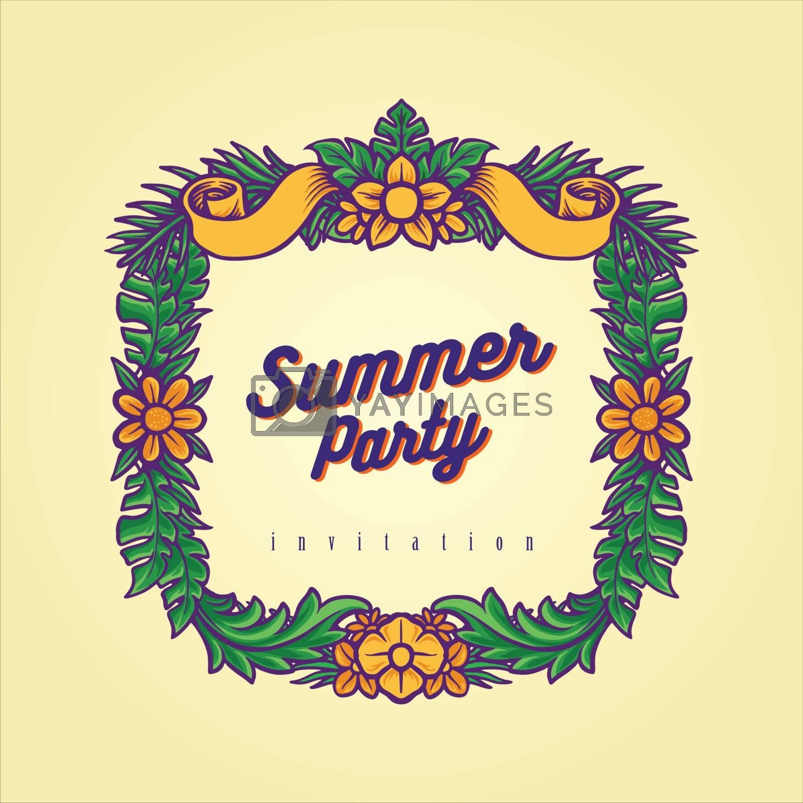 Summer Party Frame Hawaii Illustrations