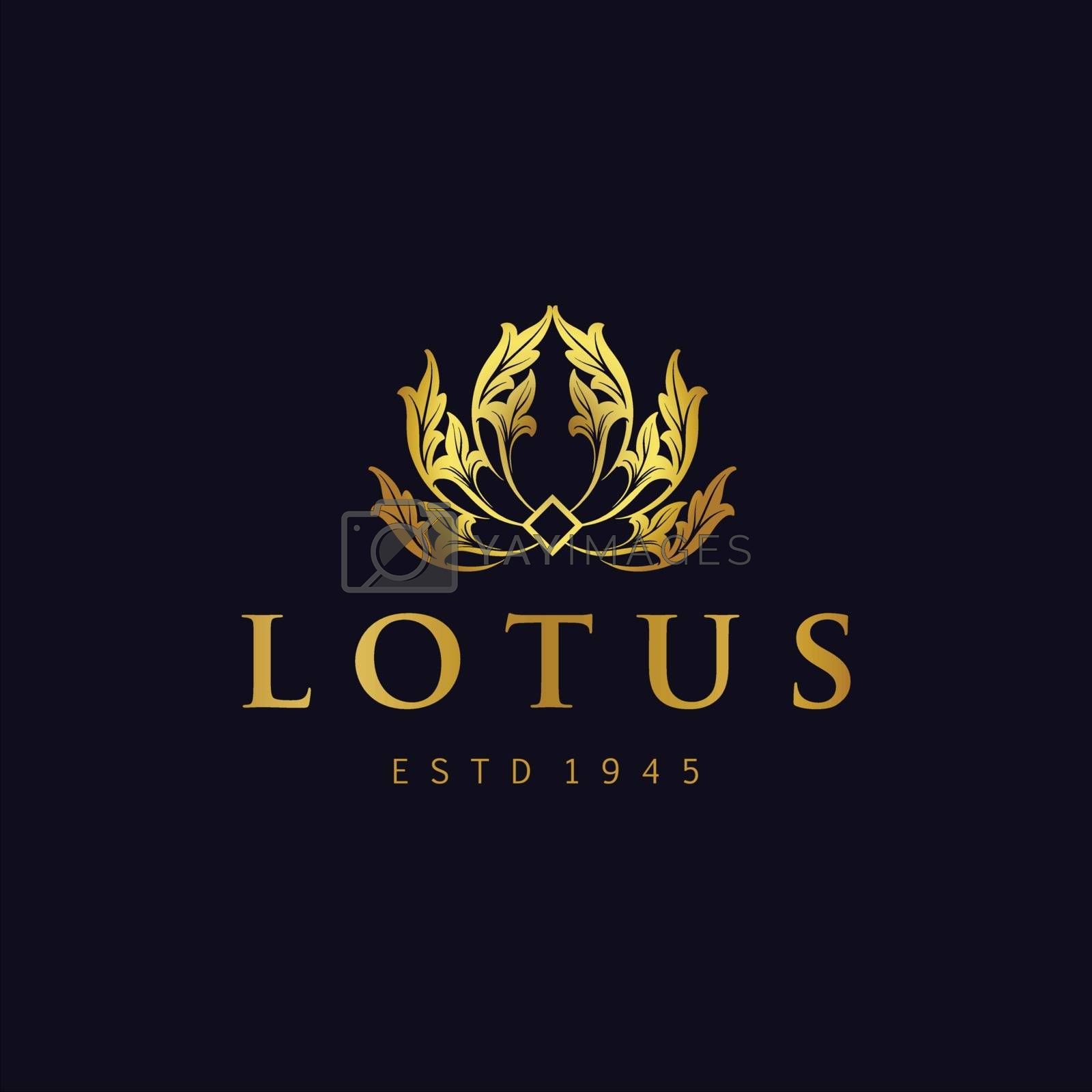 Illustrations Golden Lotus Logo Flowers Vector for spa beauty jewelry and hotel elegant