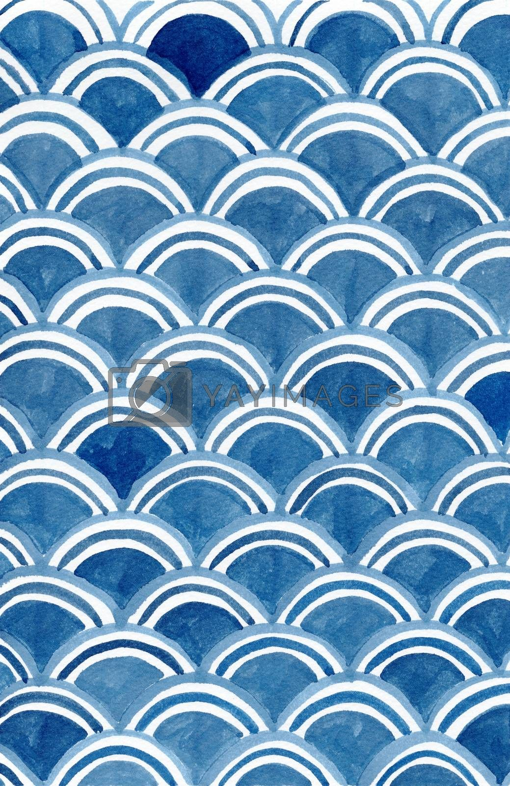 Ancient japanese pattern, Water wave circle style, Fish scale, oriental art watercolor hand painting background.