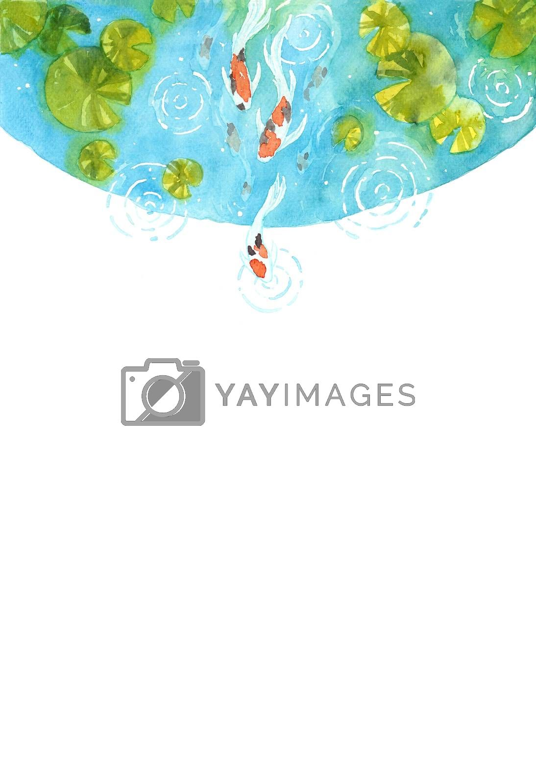 Frame of beautiful  brilliantly colored Koi Carp fish in a pond. Watercolor hand painting  for decoration on wallpaper, cover page, template, postcard, poster. symbol of good luck and prosperity.