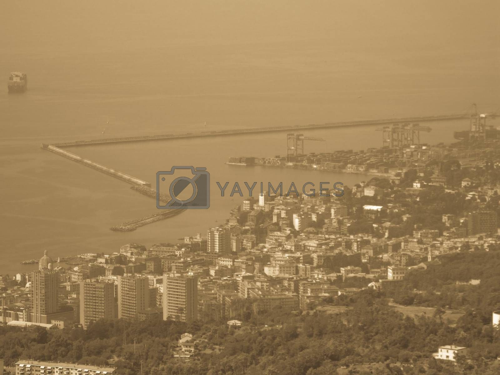 Genova, Italy – 07/30/2020: Beautiful scenic aerial view of the city, port, dam, sea, Cristoforo Colombo airport runway, containers shipping terminal, Pra, Voltri, and Sestri promontory