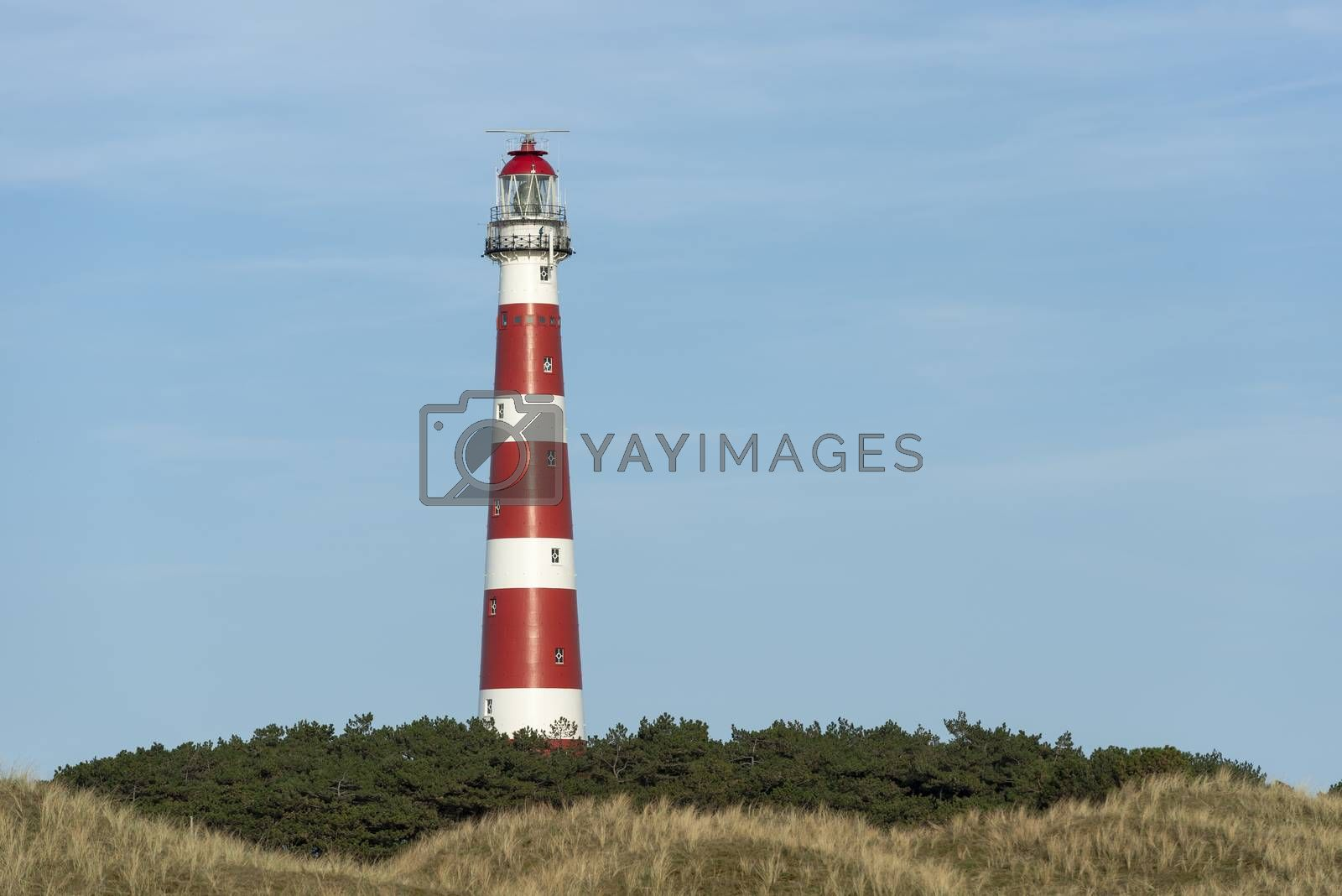 The red and white striped lighthouse of the Wadden island of Ameland in the north of the Netherlands