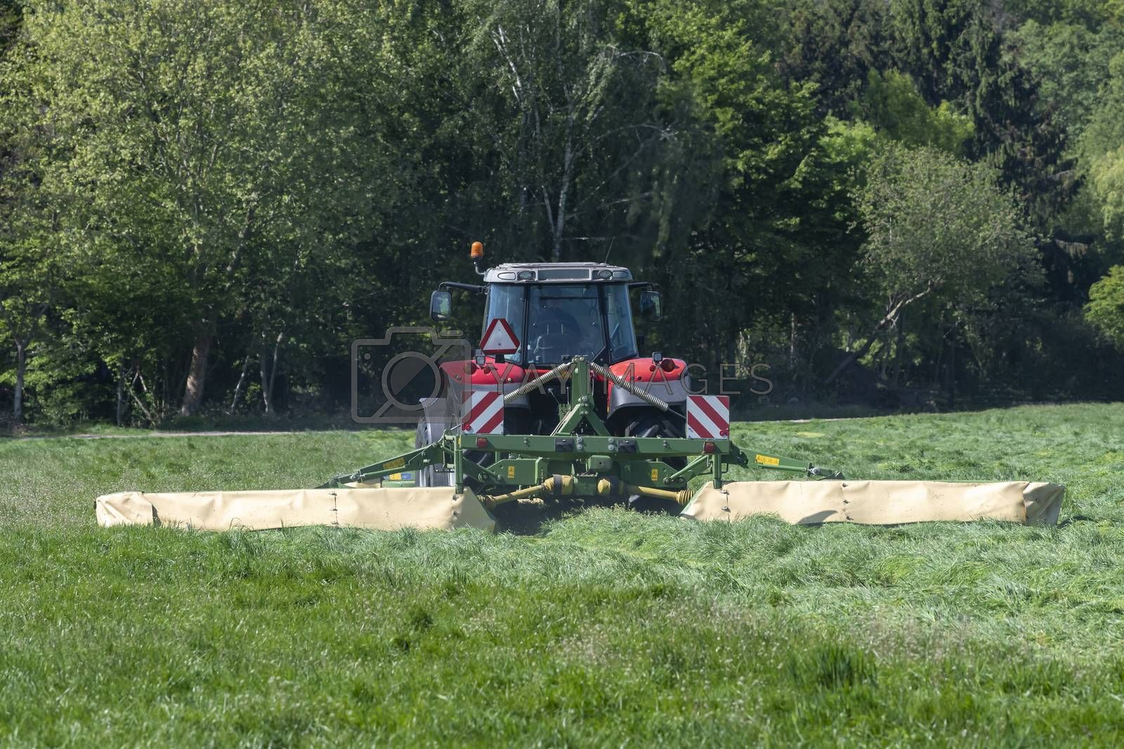 Red tractor mowing tall green grass in early spring in the Netherlands