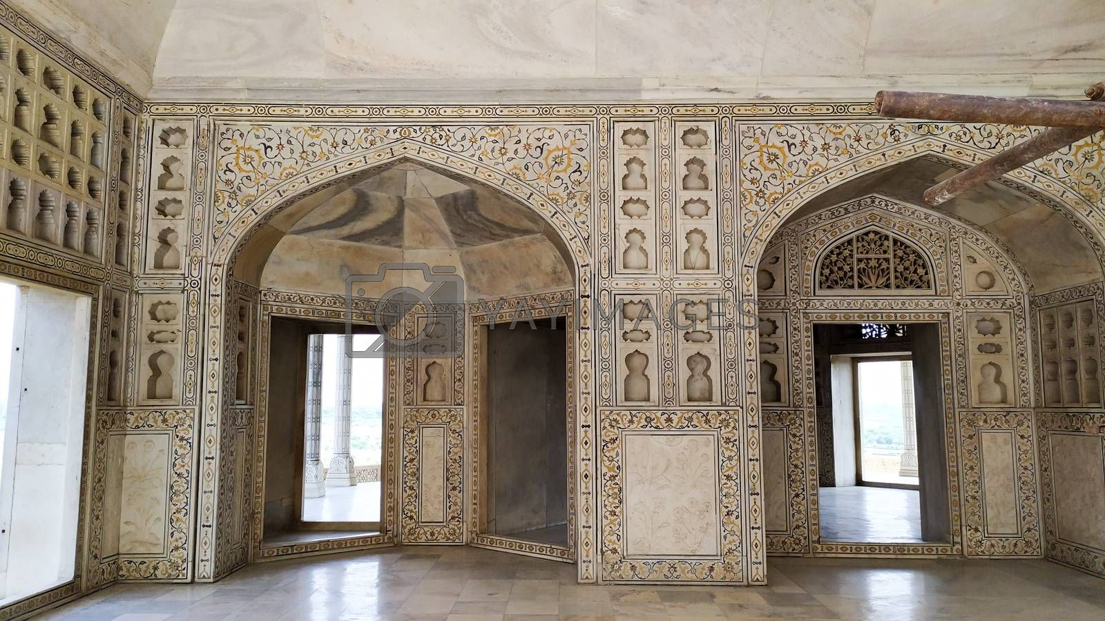 Inside view Taj Mahal Tomb mausoleum, a white marble of Mughal emperor Shah Jahan in memory of his wife Mumtaj. Taj Mahal is jewel of Muslim art and a masterpieces of world heritage. Agra, India South Asia Pac May 2019