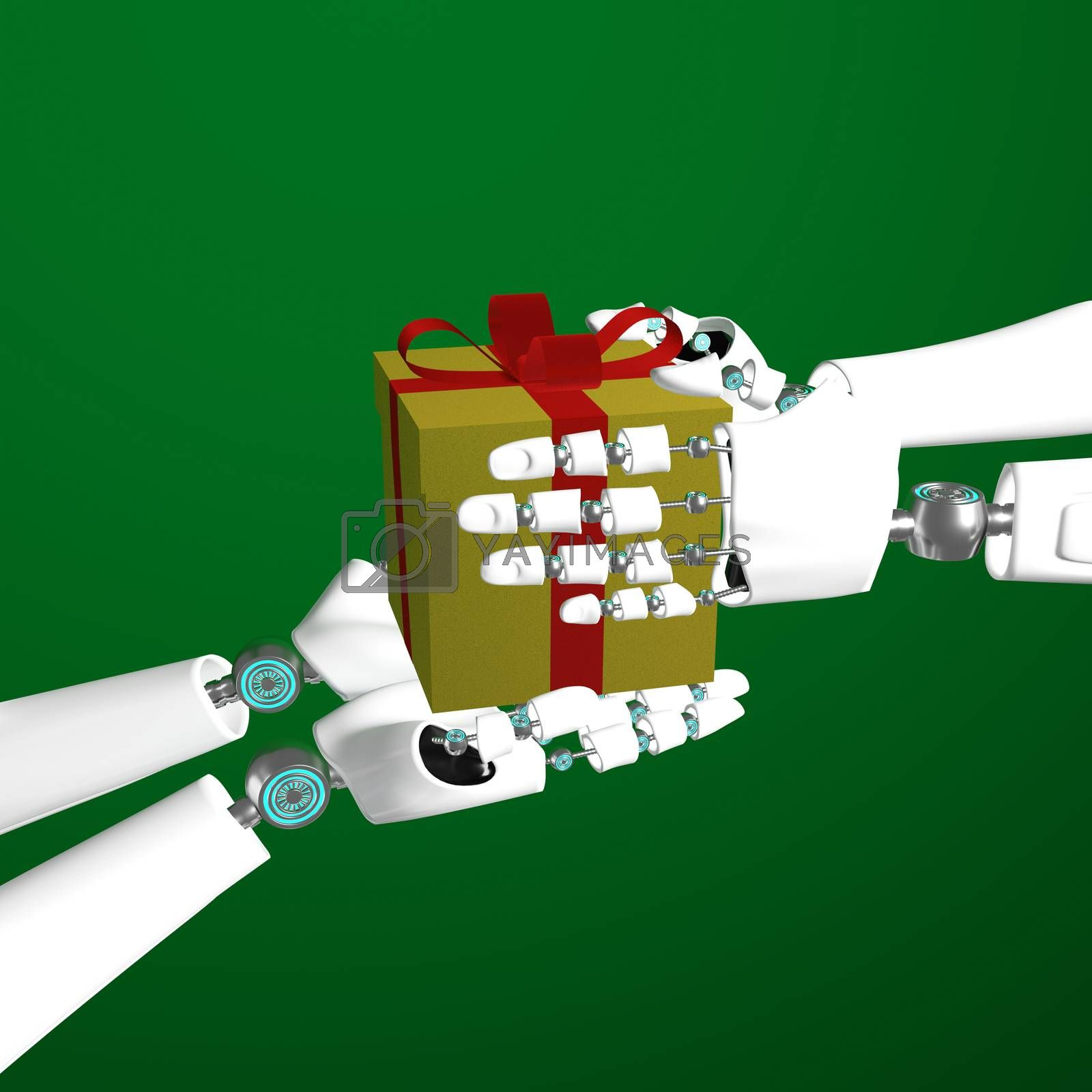 Royalty free image of Hands of android give golden gift box and red ribbon by eaglesky