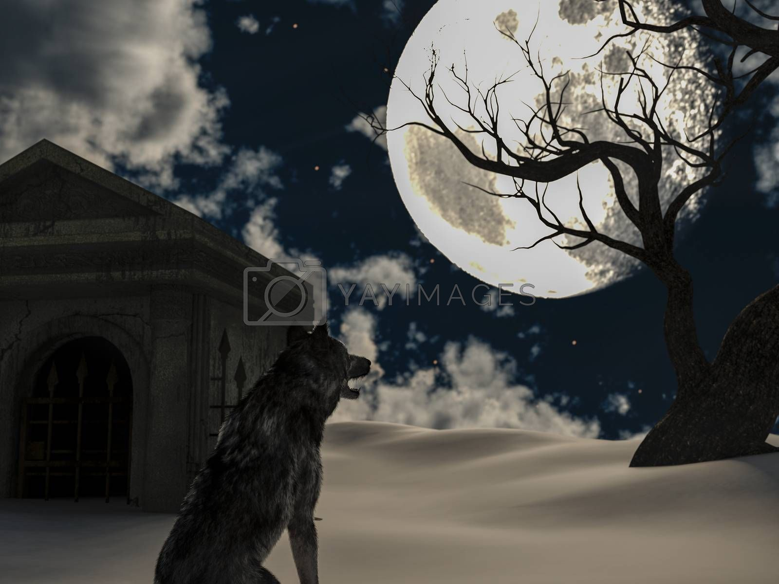 Illustration of a wolf during the full moon in winter with a creepy tree and an old crypt - 3d rendering