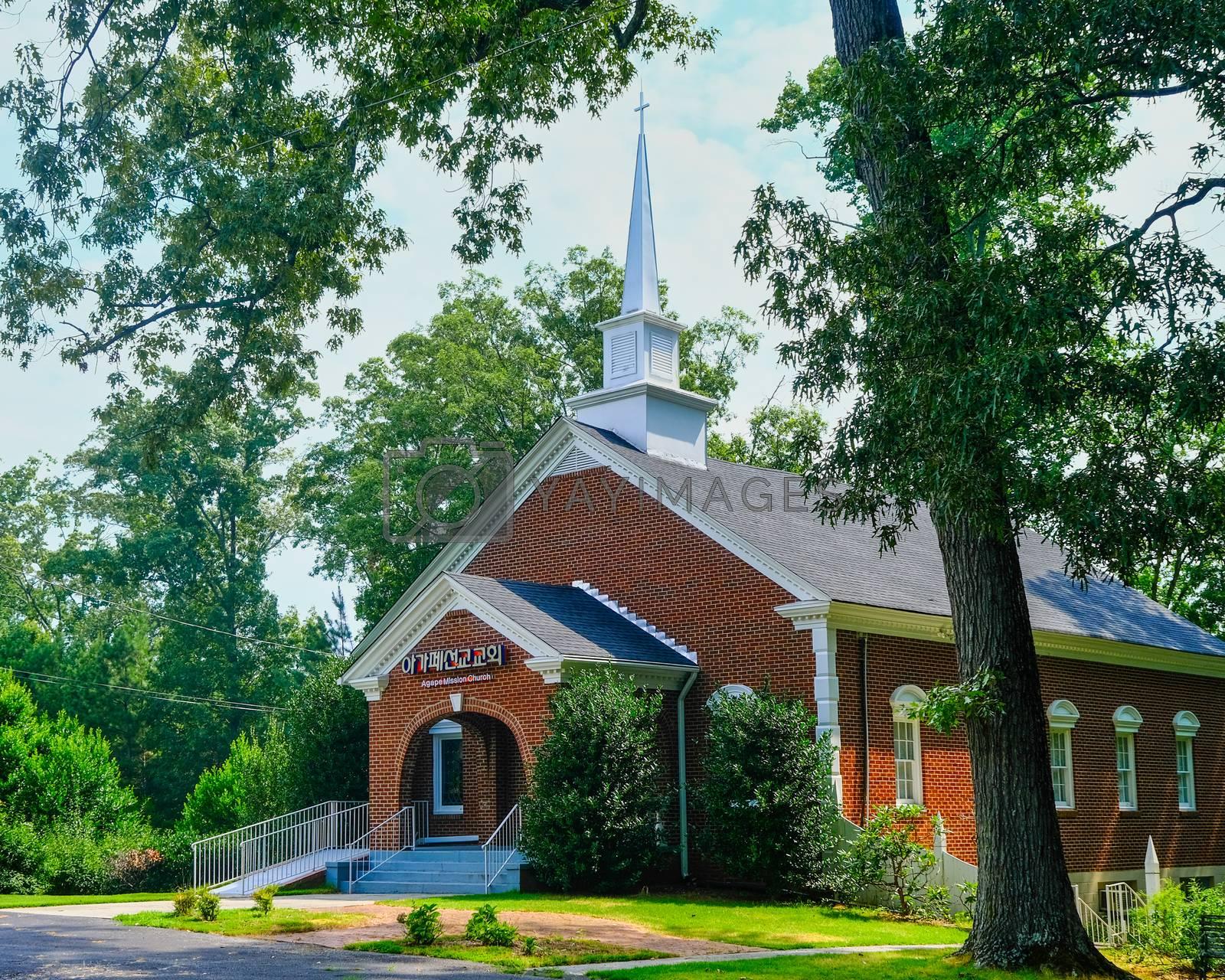 CUMMING, GEORGIA - July 21, 2020: The Agape Mission Church is an evangelical church that serves the Korean community