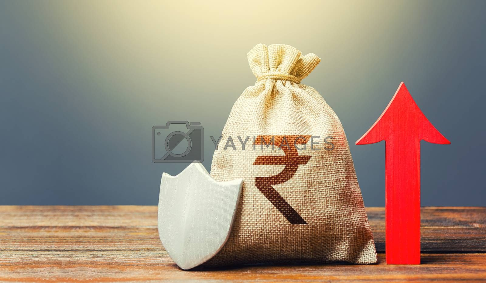 Indian rupee money bag with a shield and a red arrow up. Safety of investments, savings. Increasing the maximum amount of guaranteed insurance compensation for deposits. Financial stability.