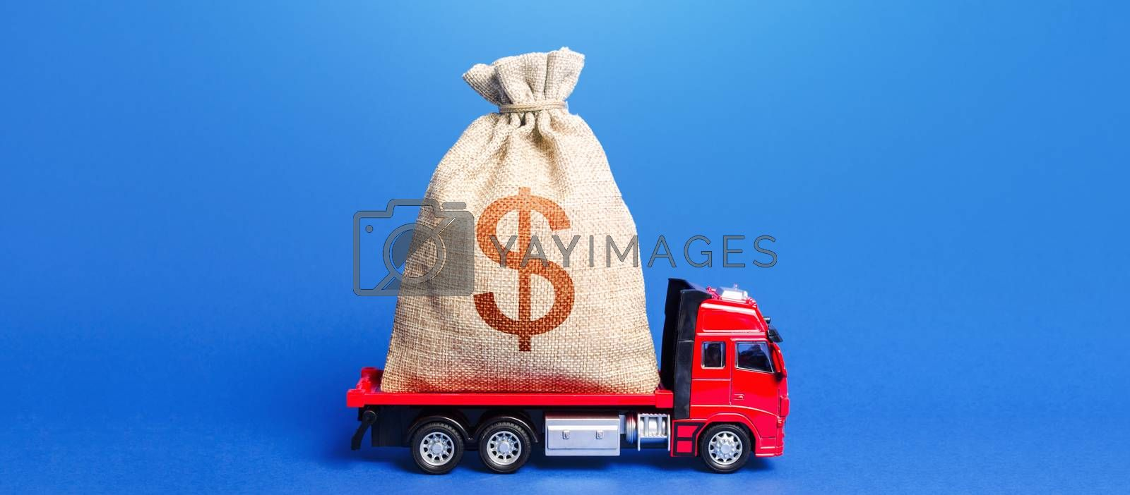The truck is carrying a huge dollar money bag. Great investment. Attracting large funds to the economy for subsidies, support and cheap soft loans for businesses. Anti-crisis measures of government.