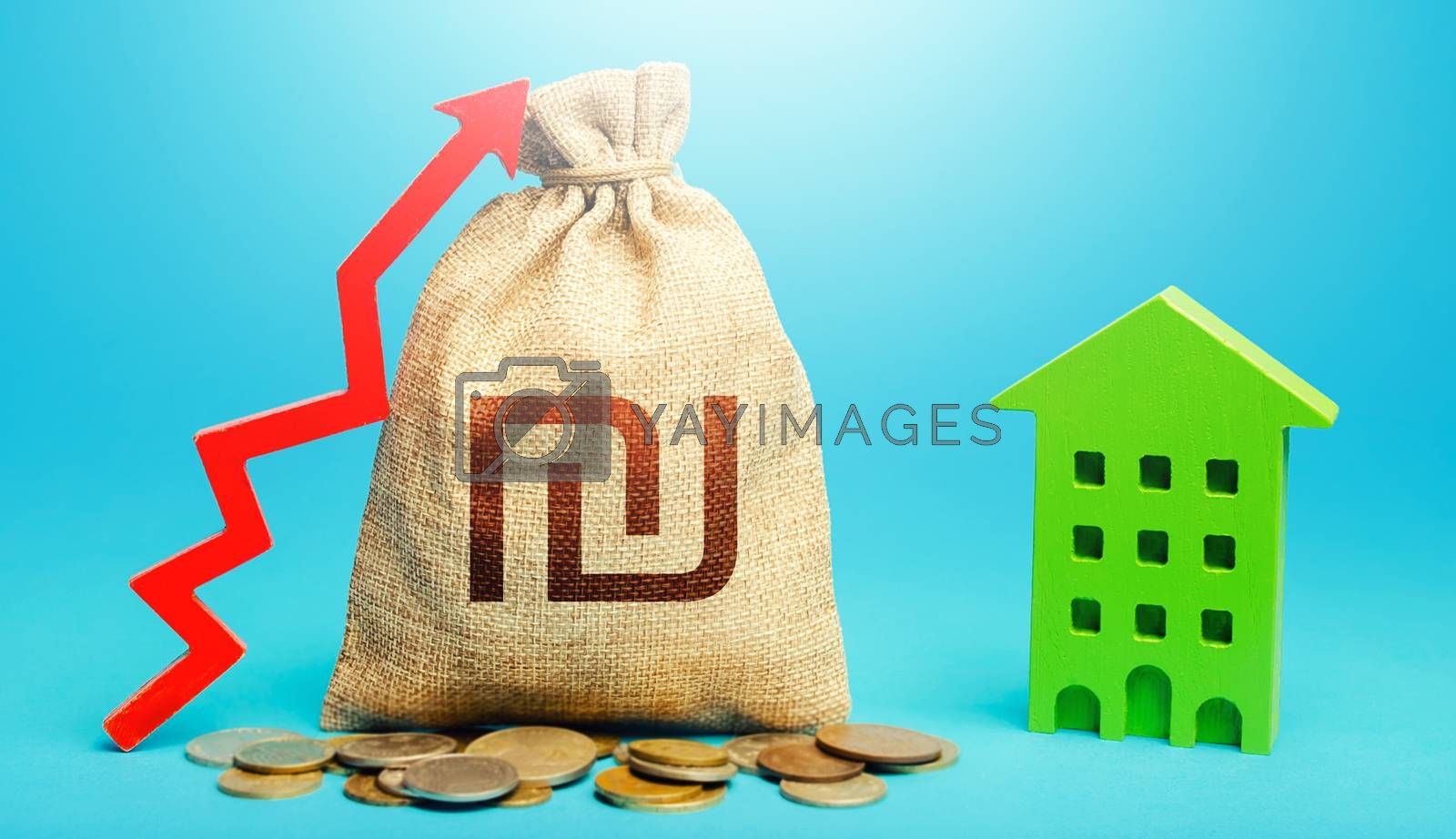 Israeli shekel money bag with red up arrow and residential building. Recovery and growth in property cost. Return on investment. Increase in prices for apartments and housing. Municipal budget.