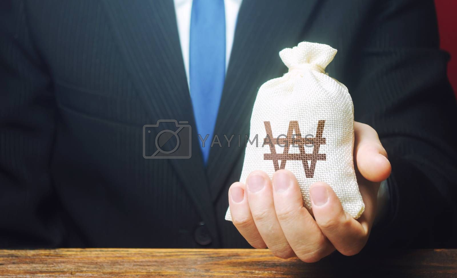 A businessman holds in his hand a south korean won money bag. Stimulating economic recovery. Investments, financing. Providing business with preferential loans and support during the economic crisis.
