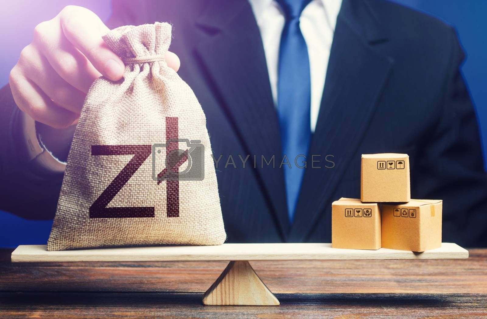 Polish zloty money bag and boxes on scales. Trade balance and purchasing power. Economic and industrial development. Import and export duties, profit from the sale of value added goods. VAT