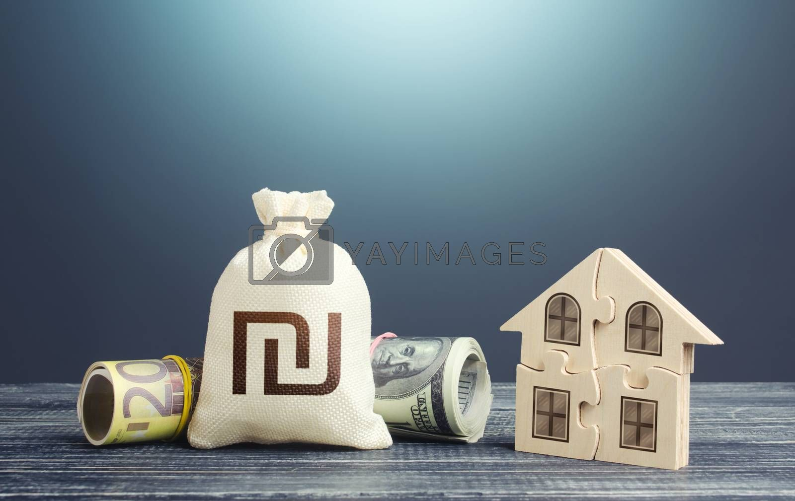 Israeli shekel money bag and puzzle house. Housing cooperative membership. Property valuation. State social programs. Mortgage loan on purchase, building maintenance and utility services costs.