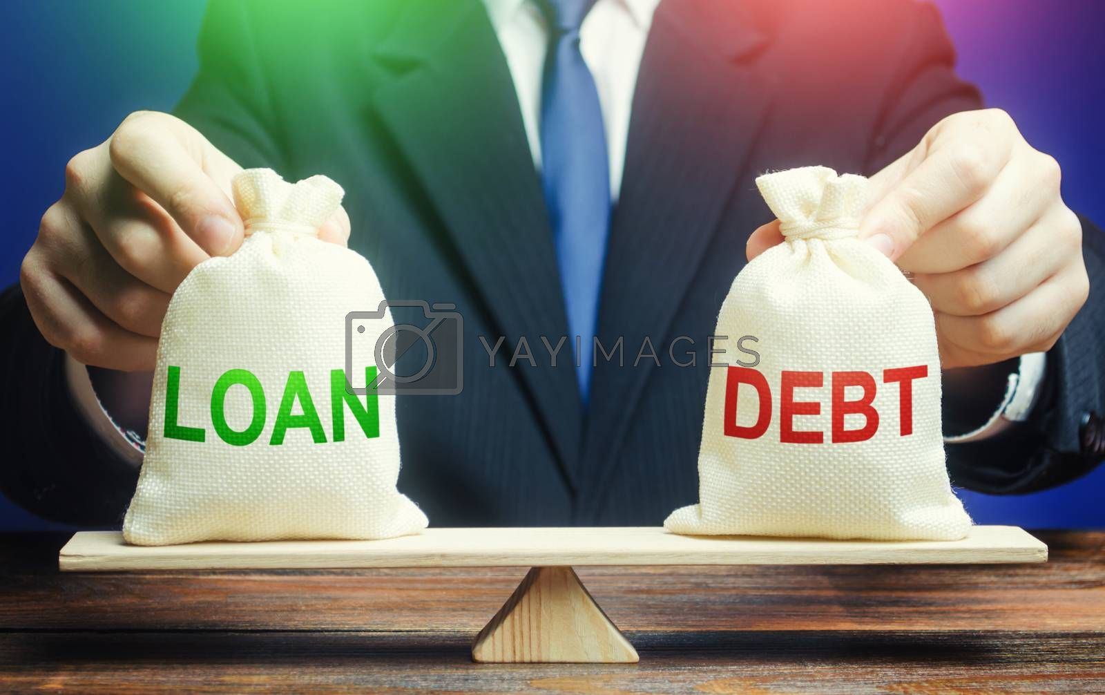 A businessman holds bags with a loan and debt on scales. Financial system balance difficulties. Borrow loans to pay off debts load, debt restructuring. Avoiding default bankruptcy, business support.
