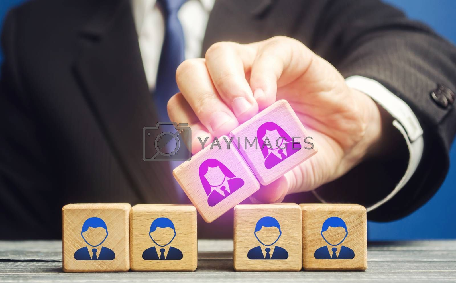 Businessman integrates female employees into male team staff. Gender equality. Creation gender balance in the company to improve work efficiency. Diversity in business. Unified career potential.