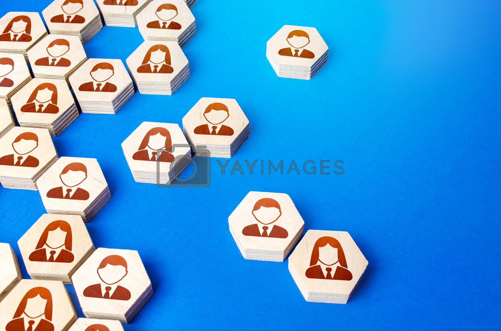 Heterogeneous social structure of employee hexagons. Recruiting and personnel management. Process of creating a business single group hierarchy or company fall apart. Cooperation. Strength is in unity