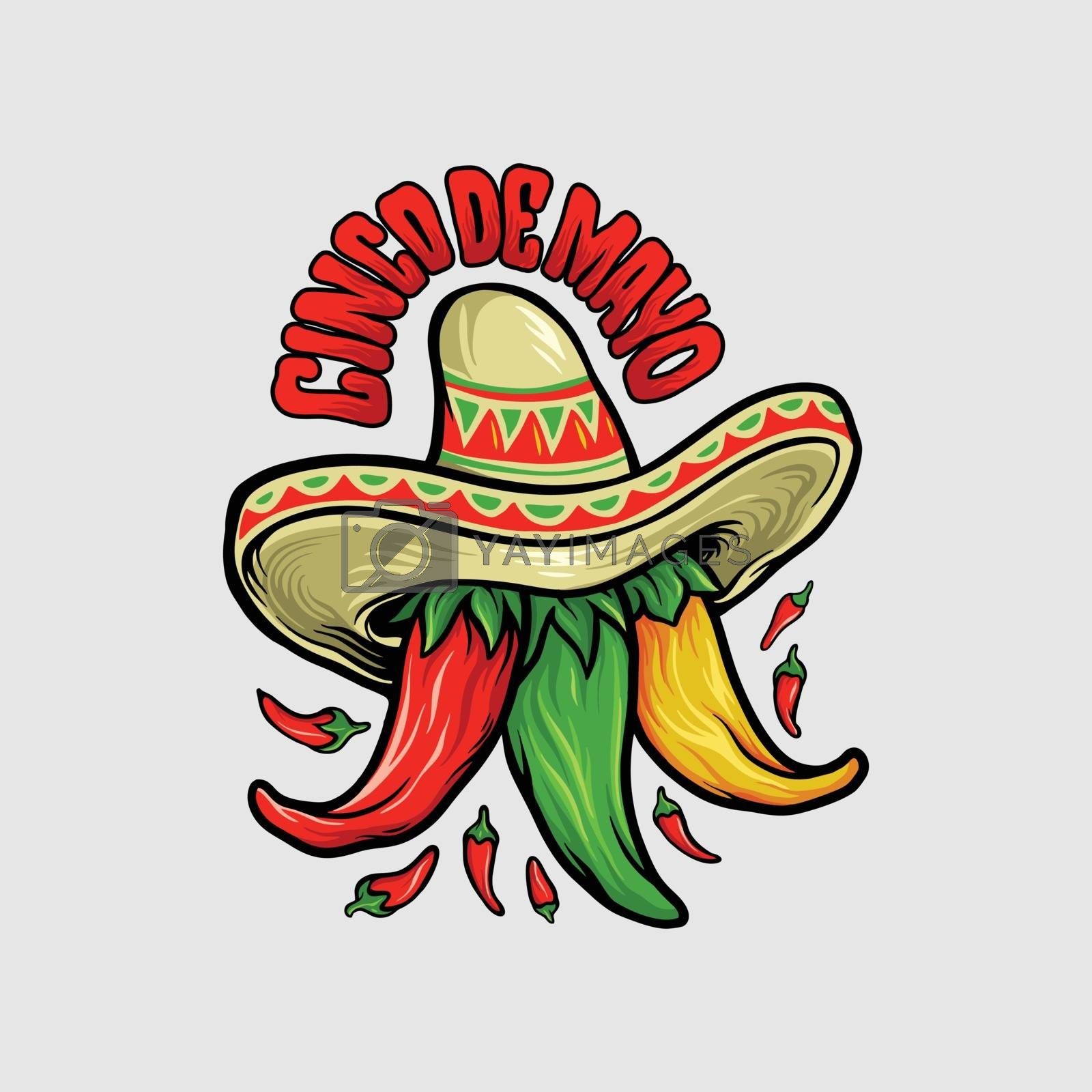 Logo Restaurant Cinco de Mayo  Mexican Chili Mascot for food and drink