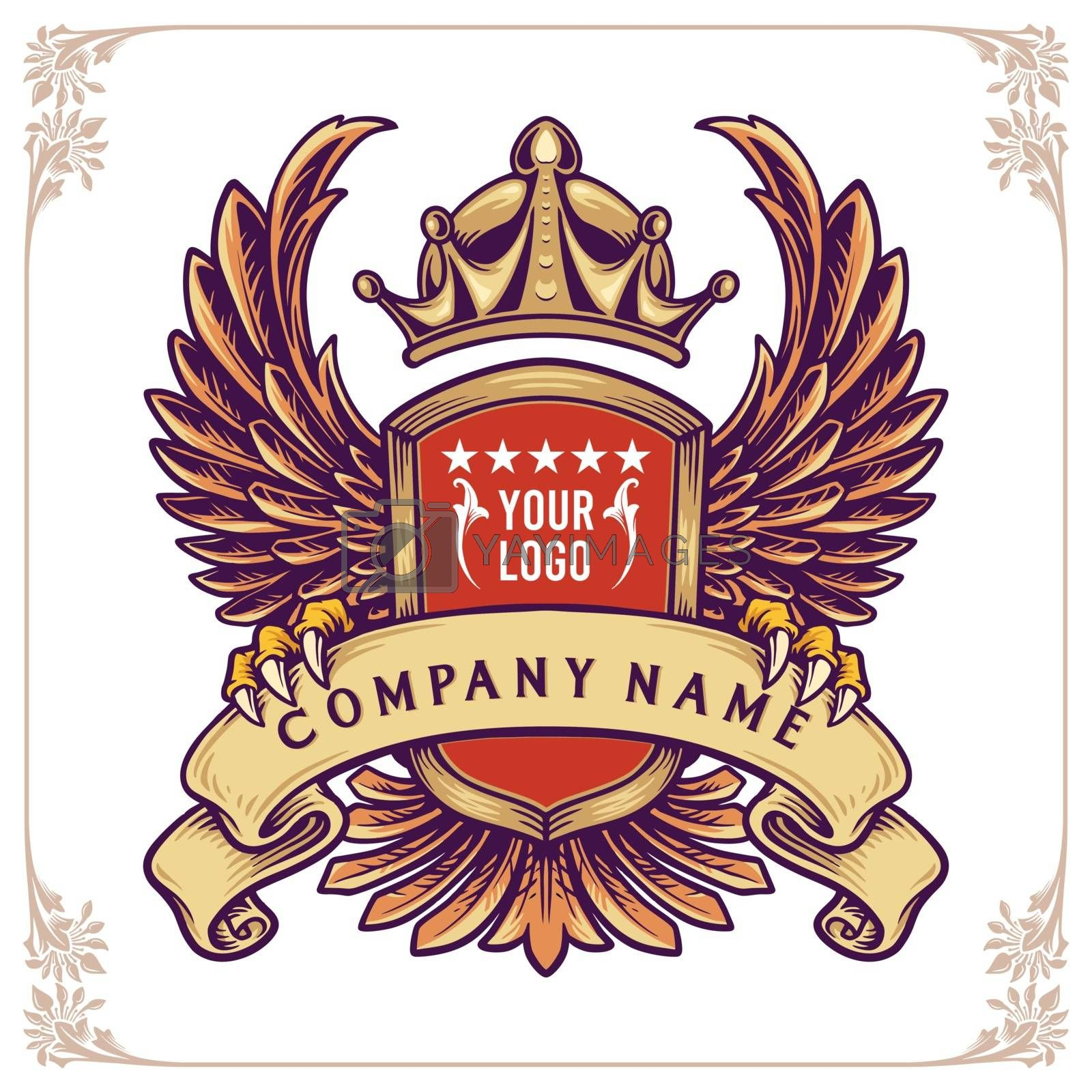 emblems with wings and crown and ribbon. Stylish and brutal badgess for Business
