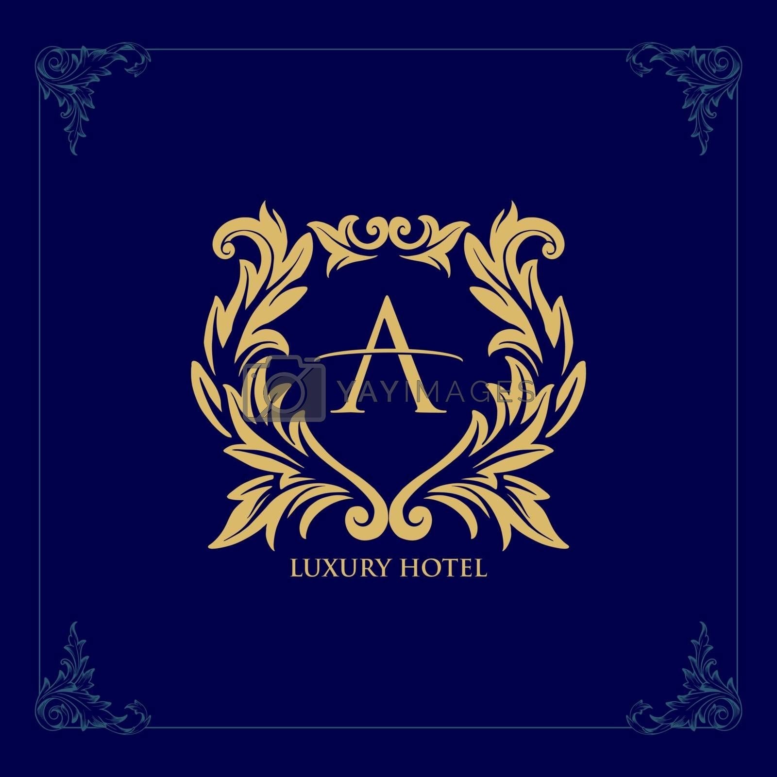 logo luxury hotel template vector golden line icon