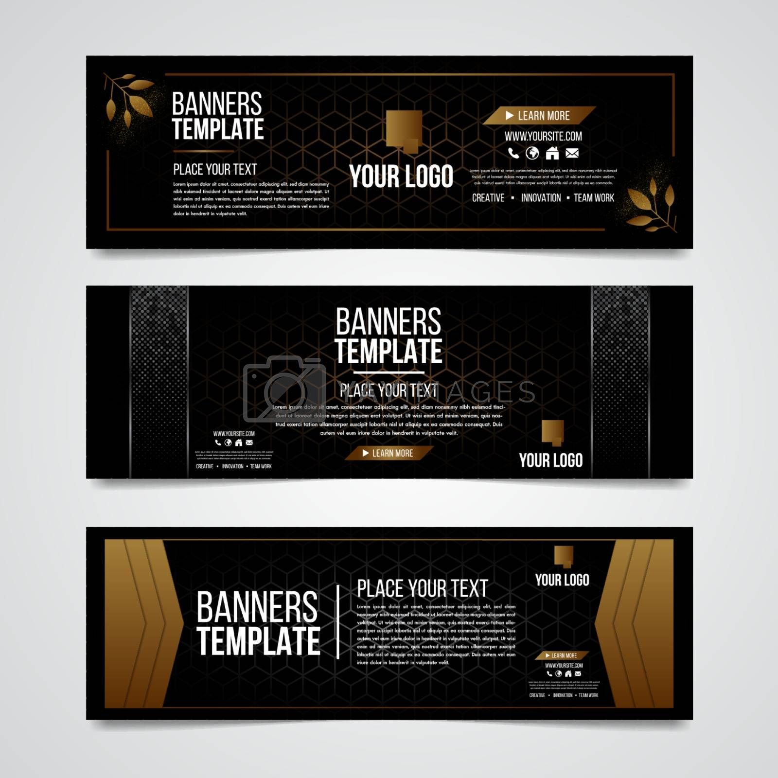 Lower third black and gold silver colorful luxury design web template modern contemporary. Set of banners bar screen broadcast show bar. template background or header Templates place for text.