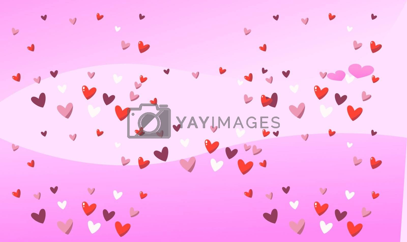 collection of several heart on pink background