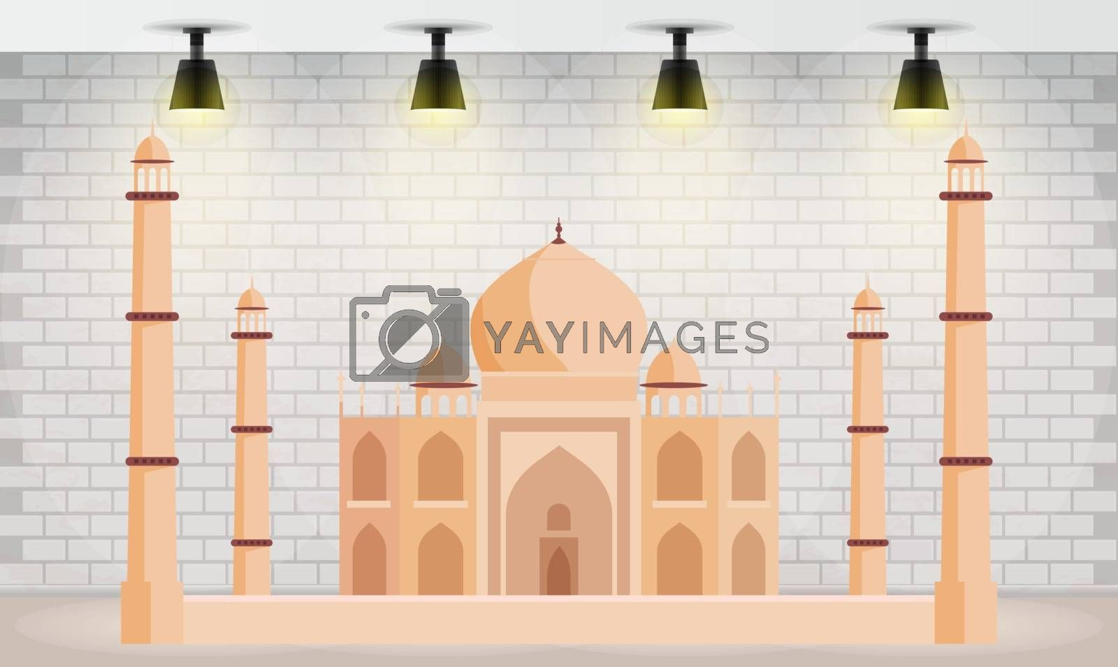 indian monument on an abstract wall background