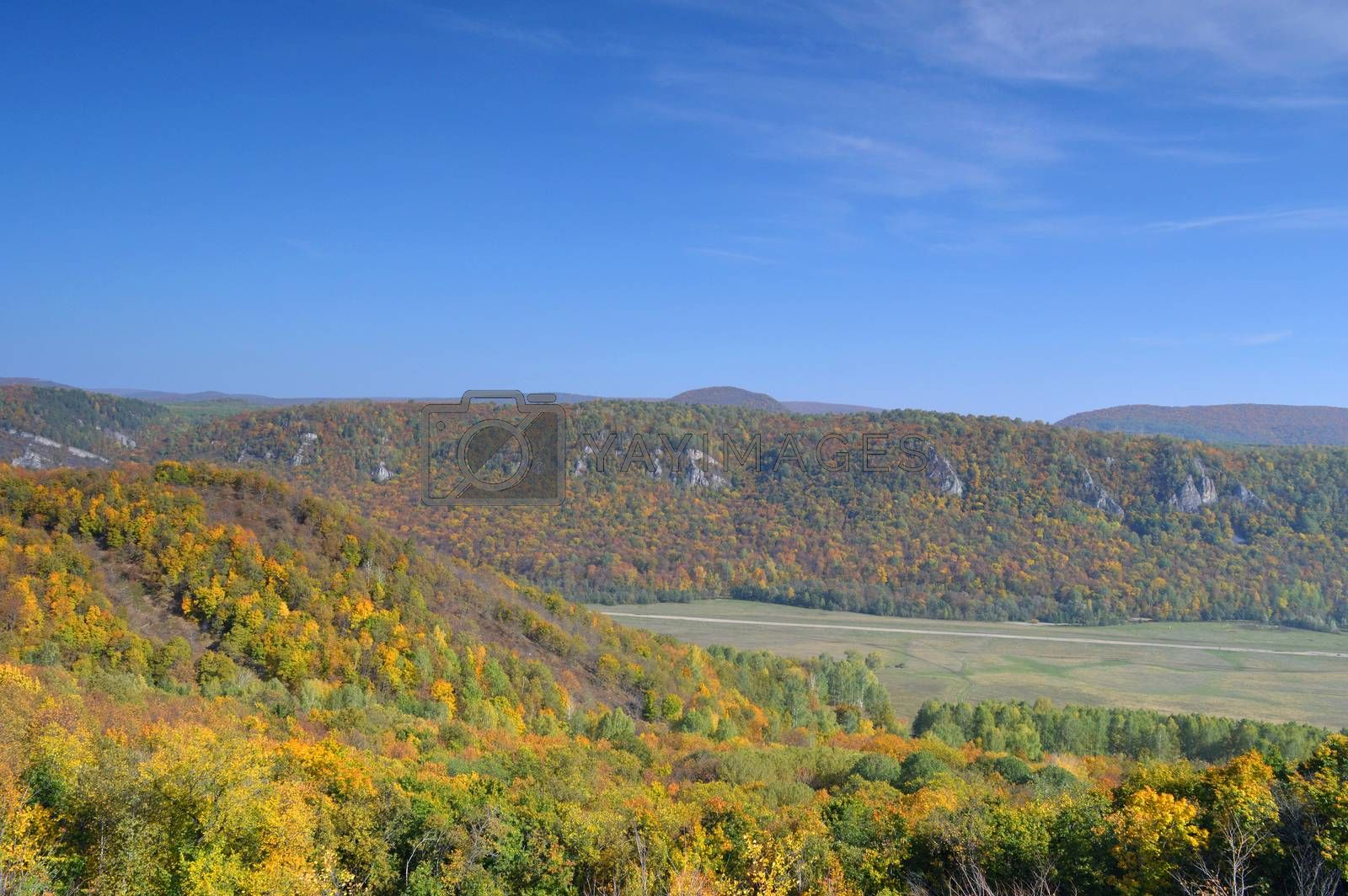 Autumn landscape, tree over mountains