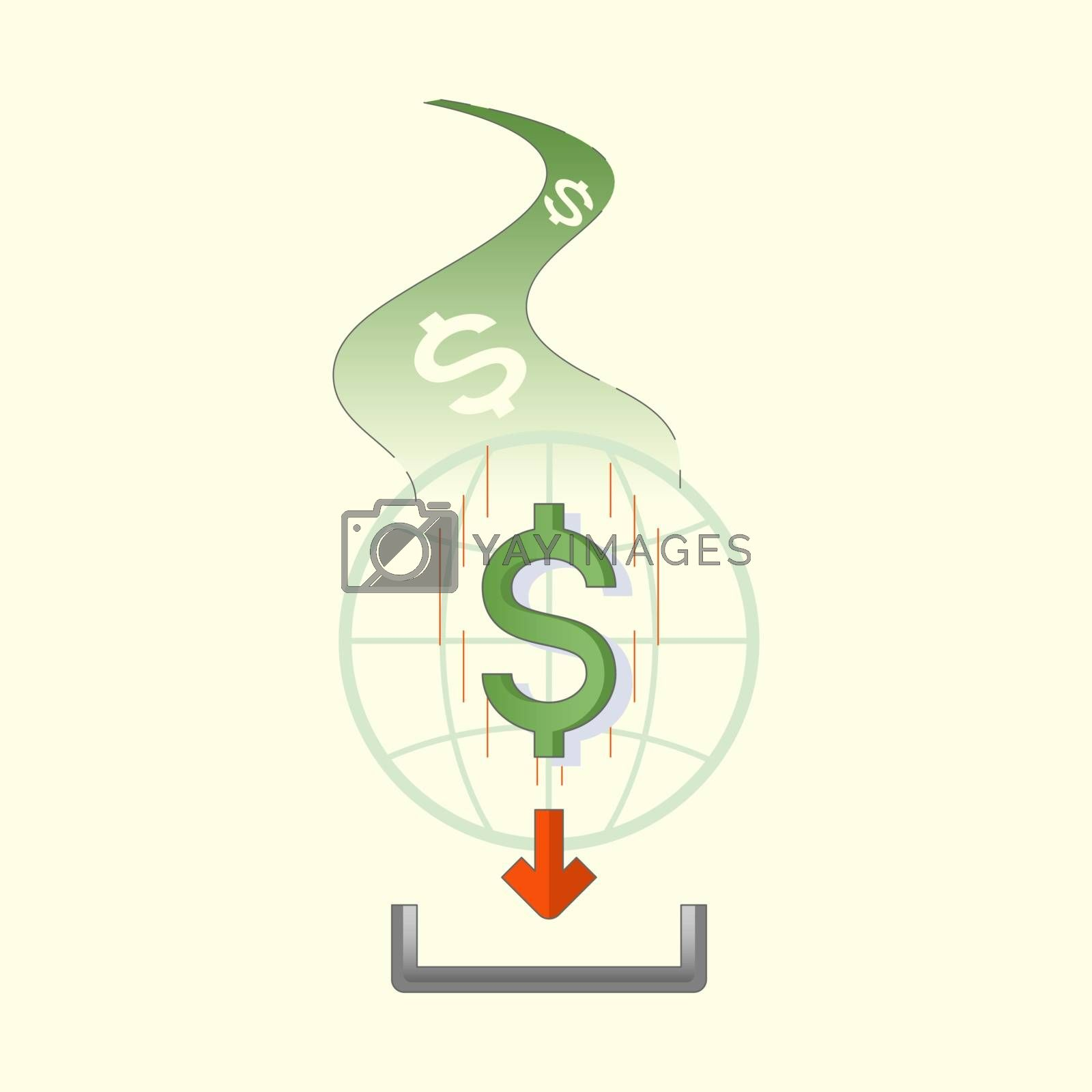 Dollar sign flow on to globe and receive icon. Money flow. Virtual movement of money. Vector illustration outline flat design style.