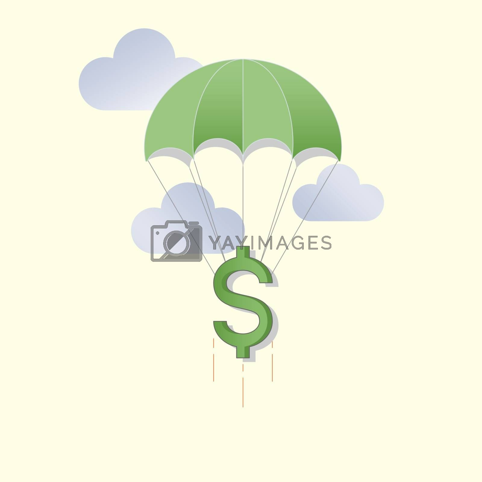 Dollar sign flying on a parachute. Economic support. Financial aid. Vector illustration outline flat design style.