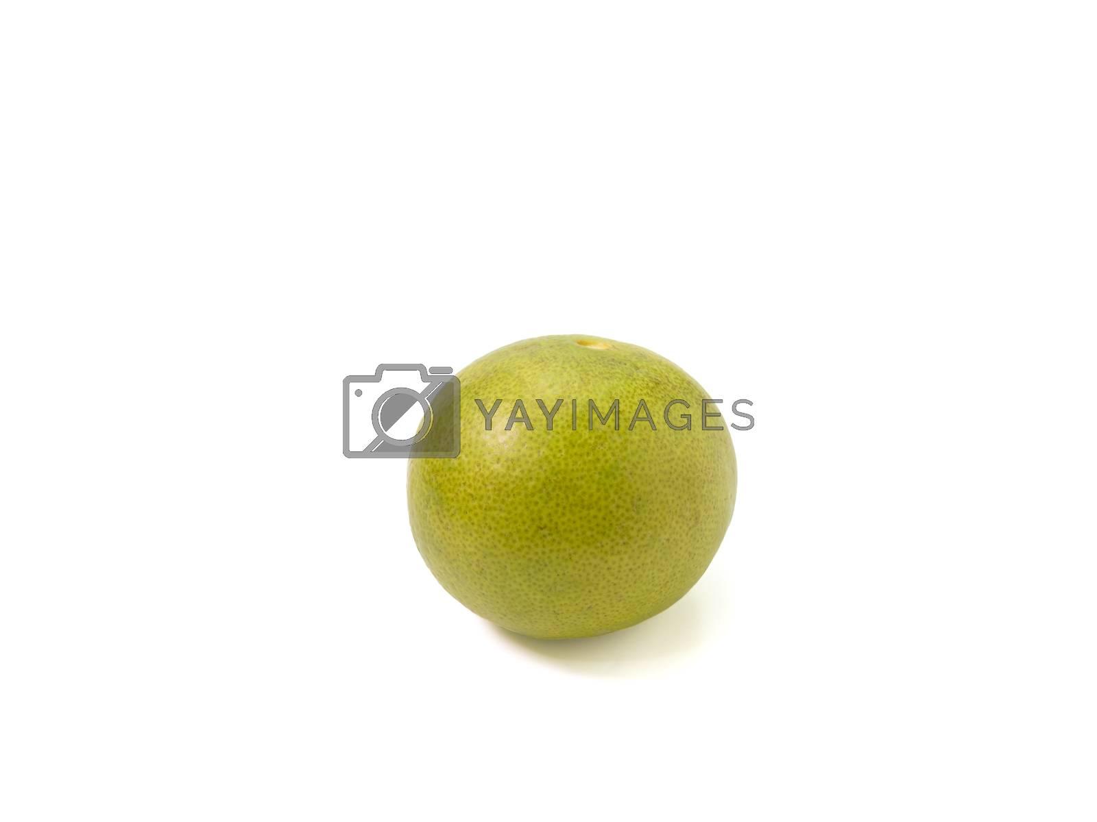 The close up of freshness green lemon isolated on white background.
