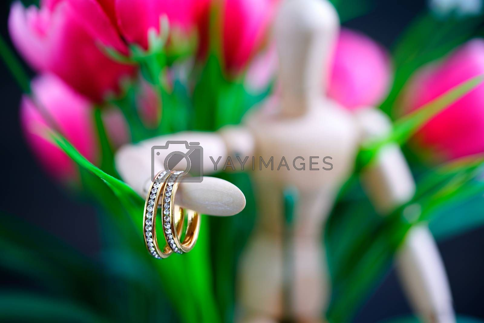 Wooden figure holding two golden wedding ring  by stoonn