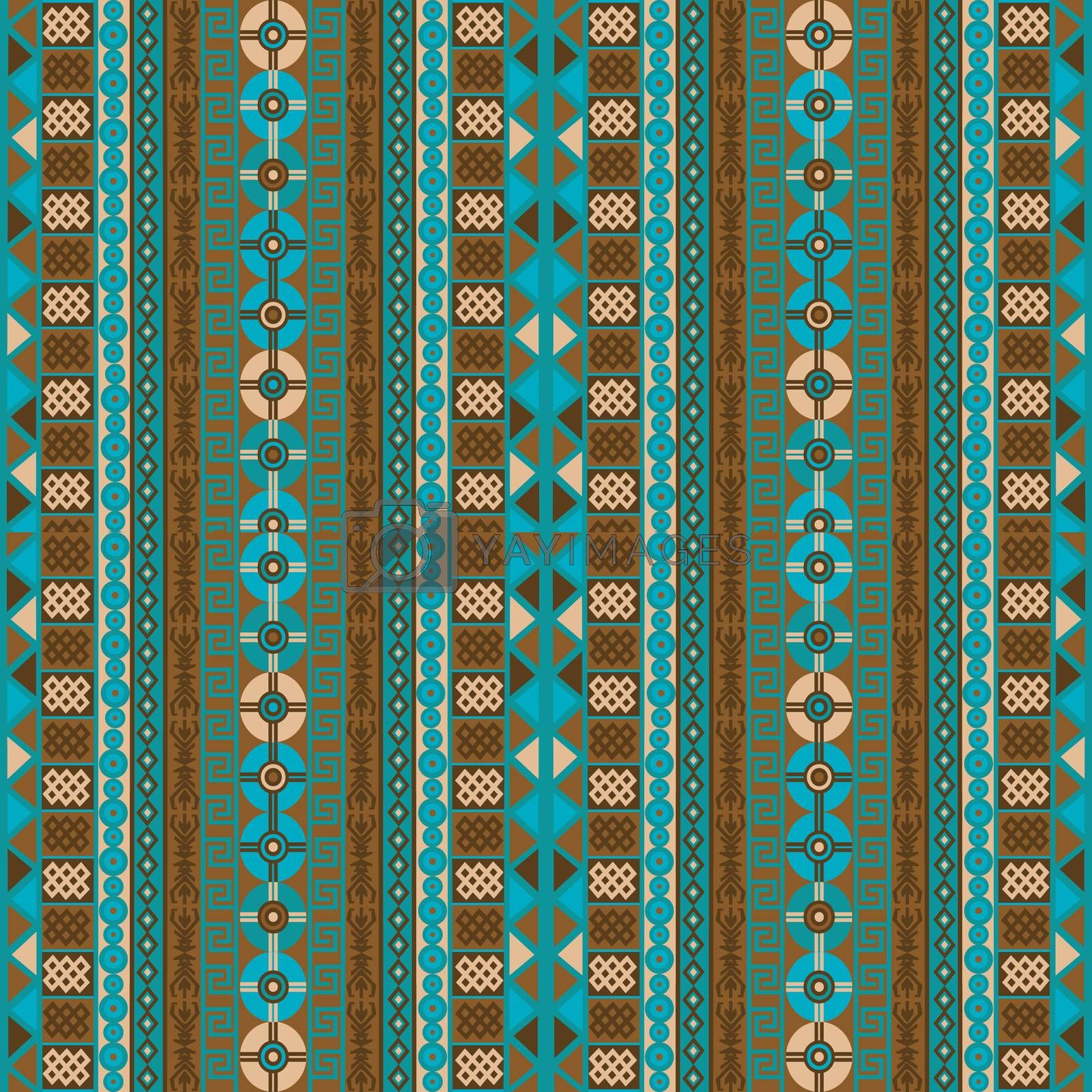 Ethnic background with blue and brown tribal motifs