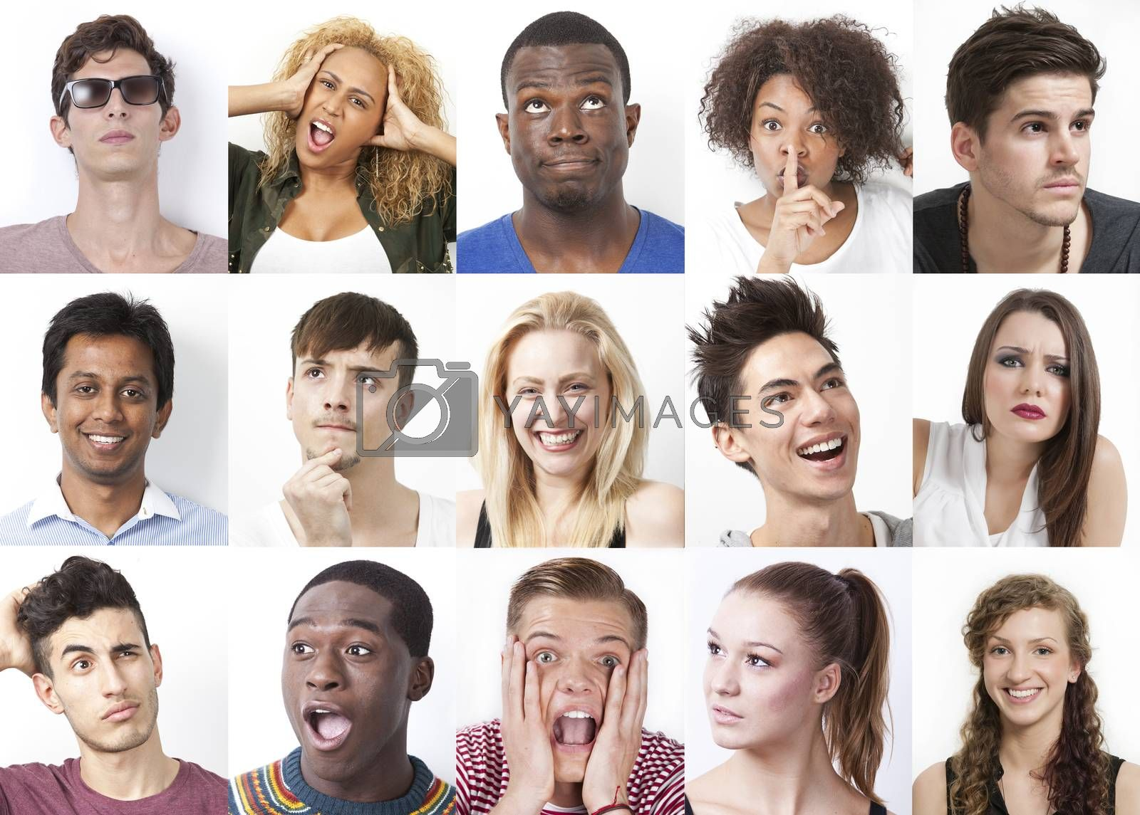 Collage of multi-ethnic people with various facial expressions